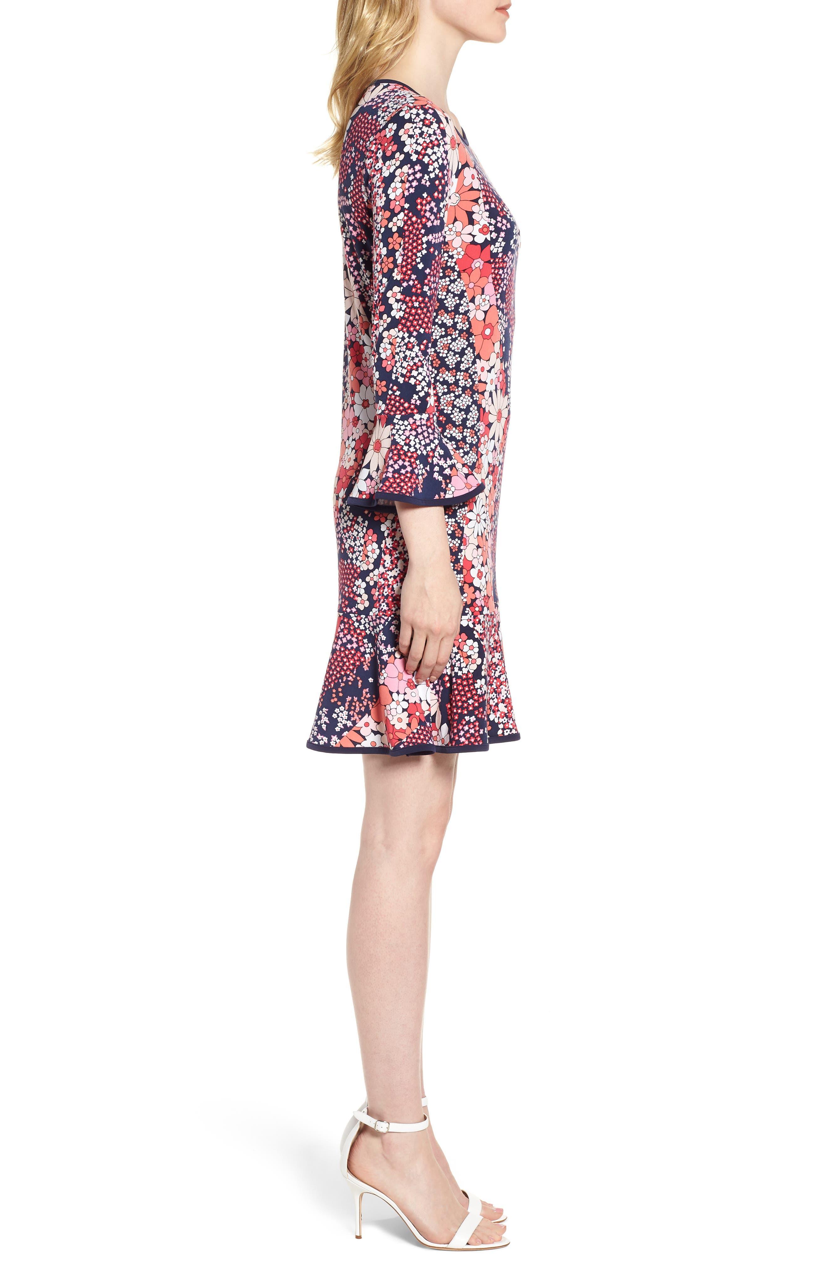 Patch Flower Flounce Dress,                             Alternate thumbnail 3, color,                             678