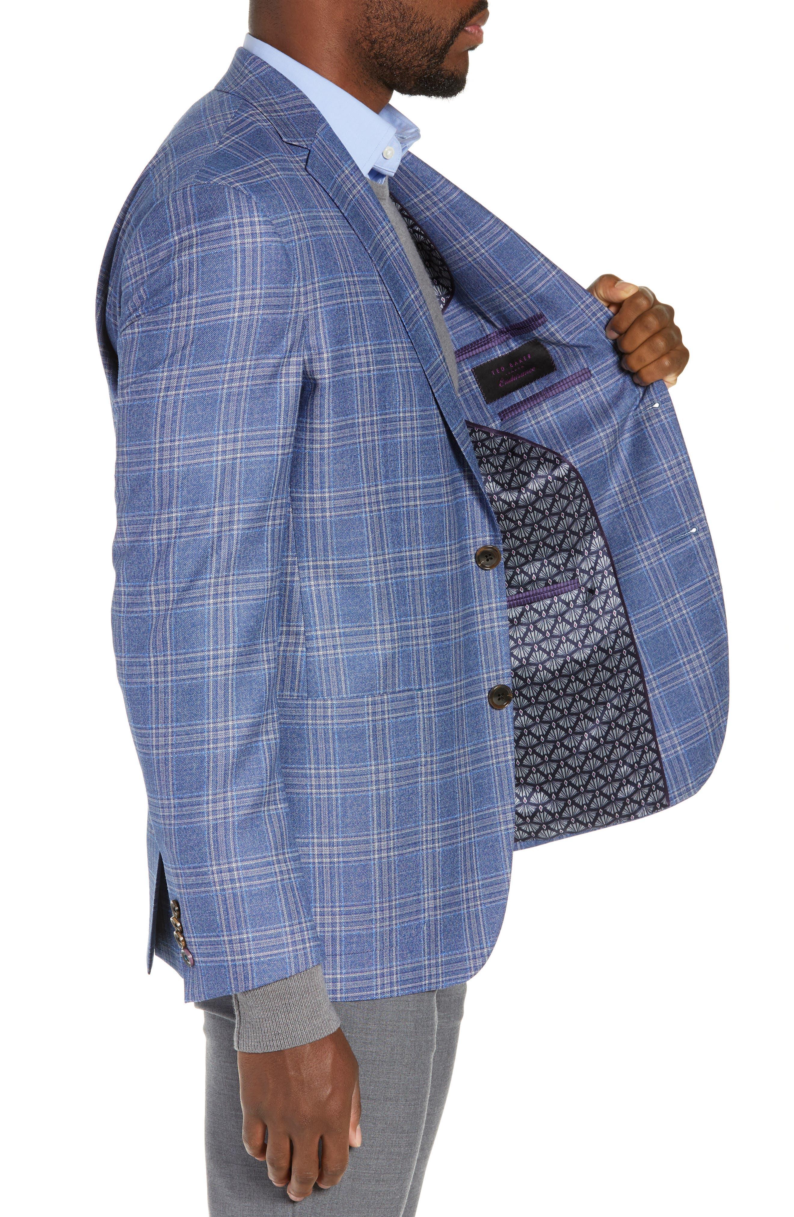 Kyle Trim Fit Plaid Wool Sport Coat,                             Alternate thumbnail 4, color,                             LIGHT BLUE