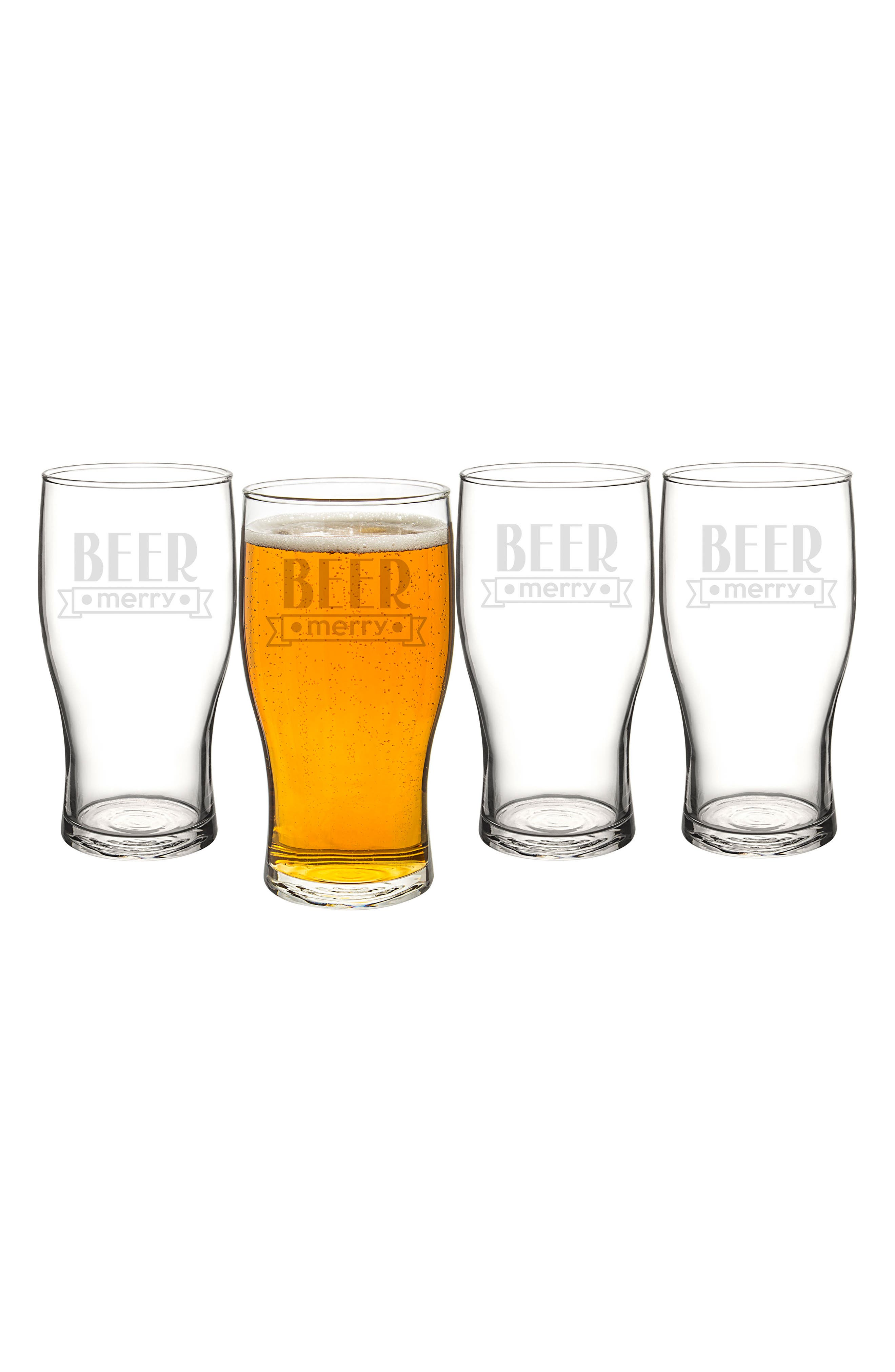 Beer Merry Set of 4 Pilsner Glasses,                             Main thumbnail 1, color,                             CLEAR
