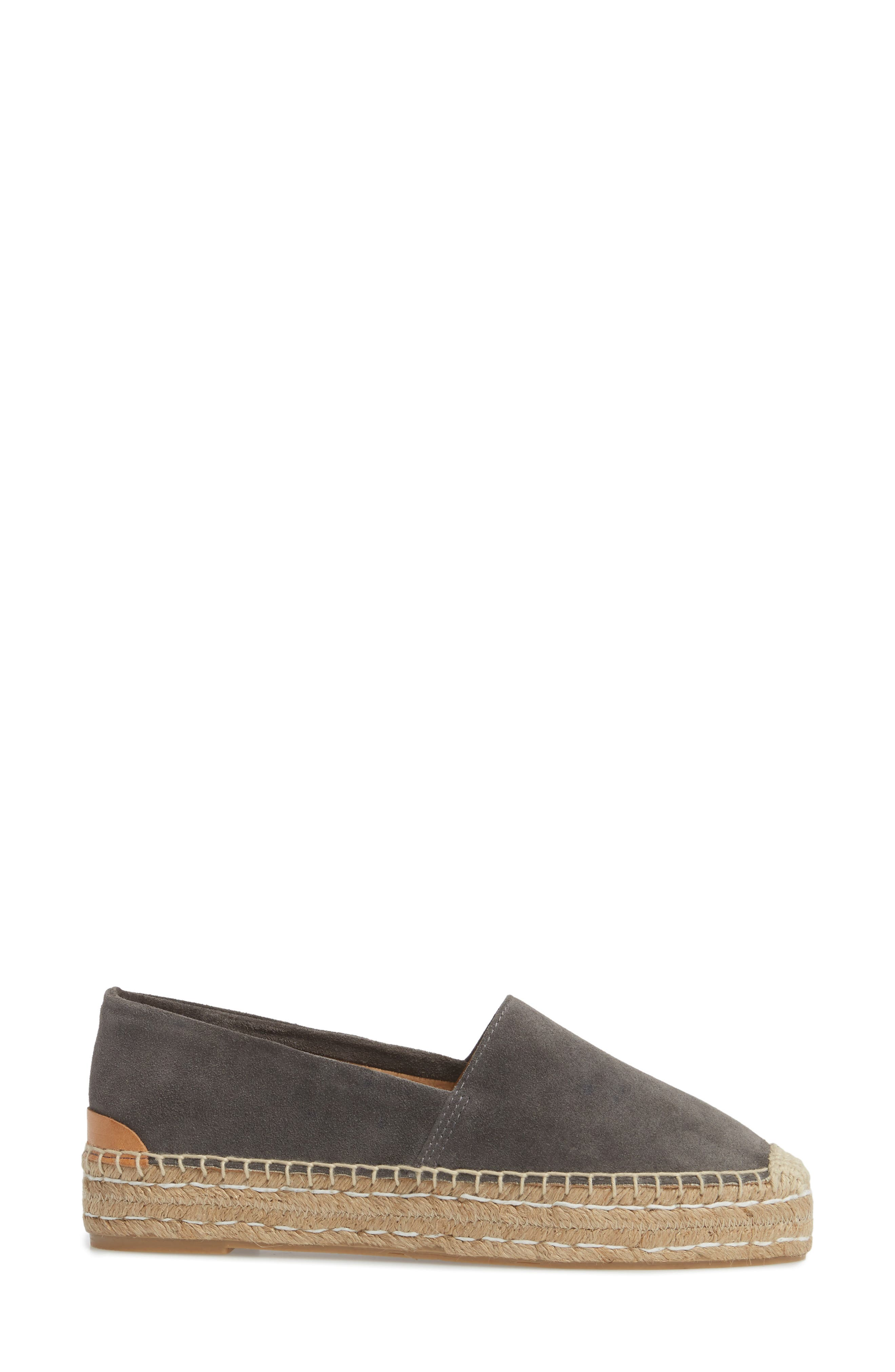 Abigail Espadrille Slip-On,                             Alternate thumbnail 3, color,                             CHARCOAL SUEDE