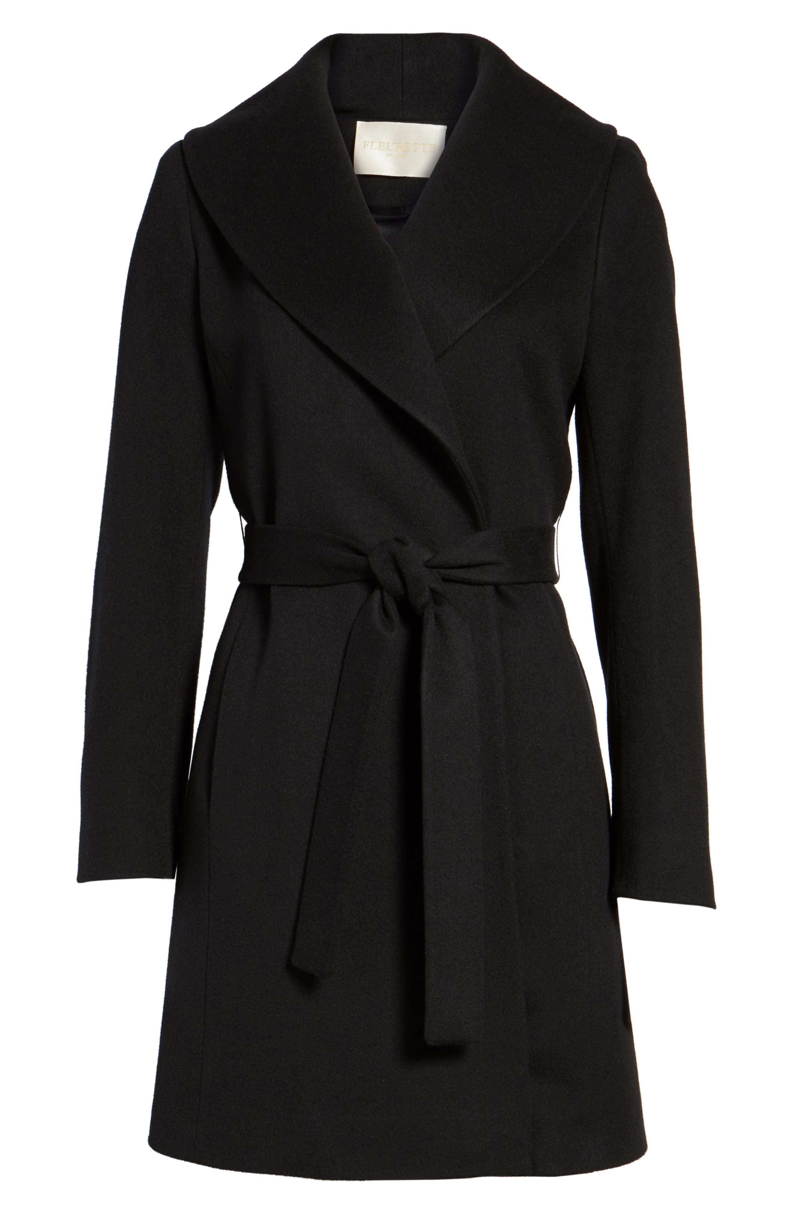 Shawl Collar Cashmere Wrap Coat,                             Alternate thumbnail 5, color,                             001
