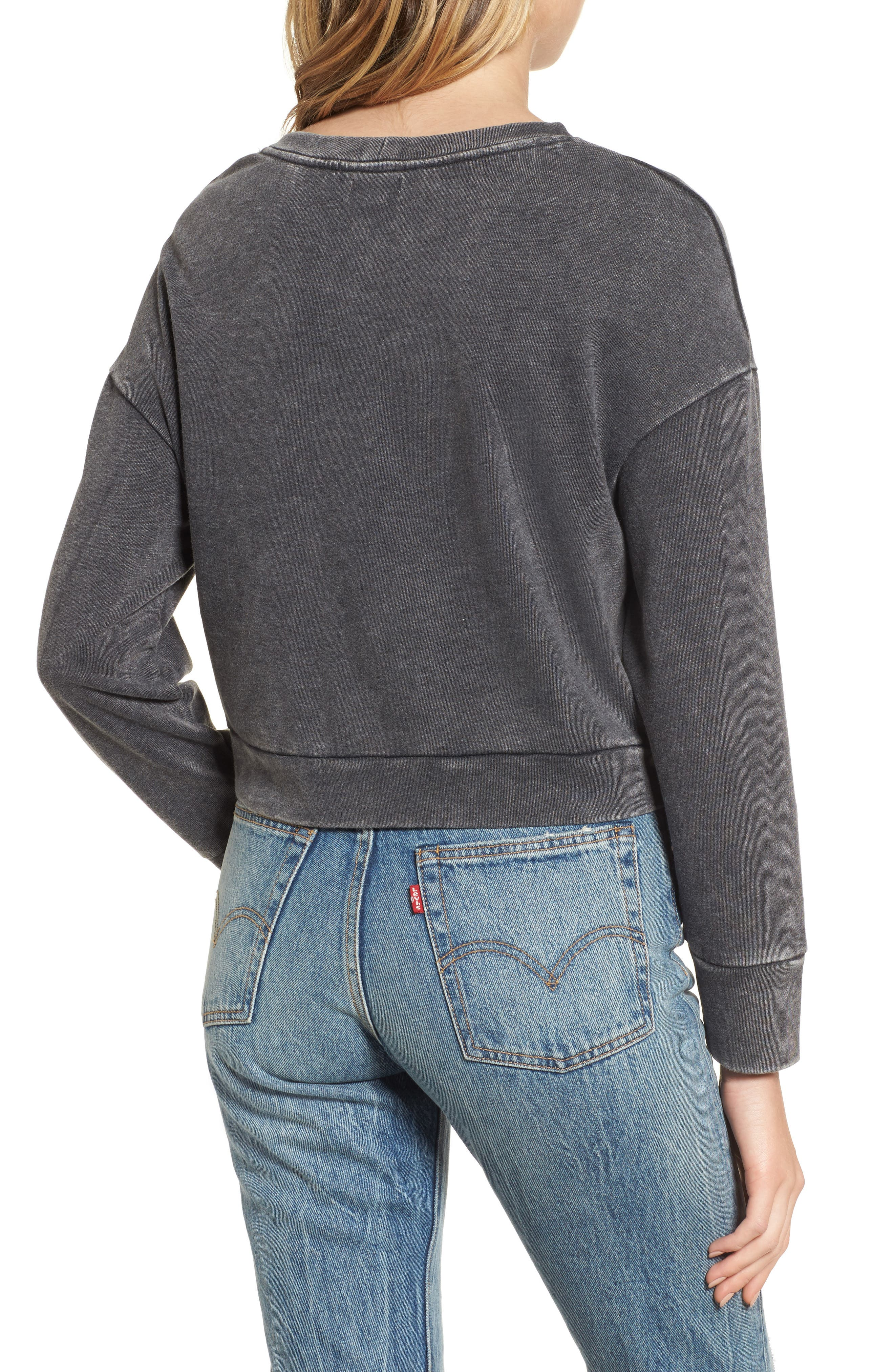 Lace-Up Fleece Pullover,                             Alternate thumbnail 2, color,                             001
