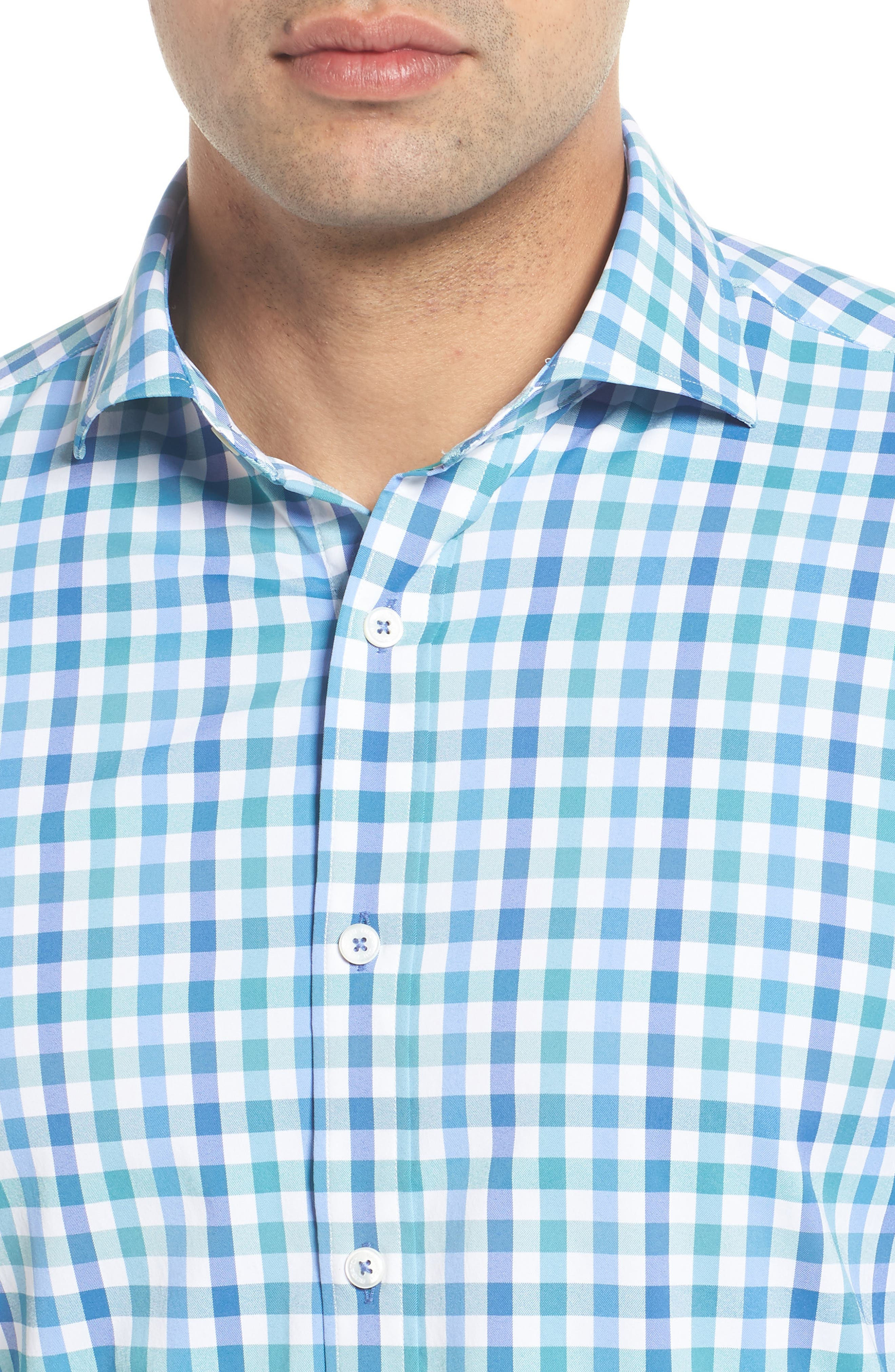 Shaped Fit Check Performance Sport Shirt,                             Alternate thumbnail 4, color,                             PARADISE