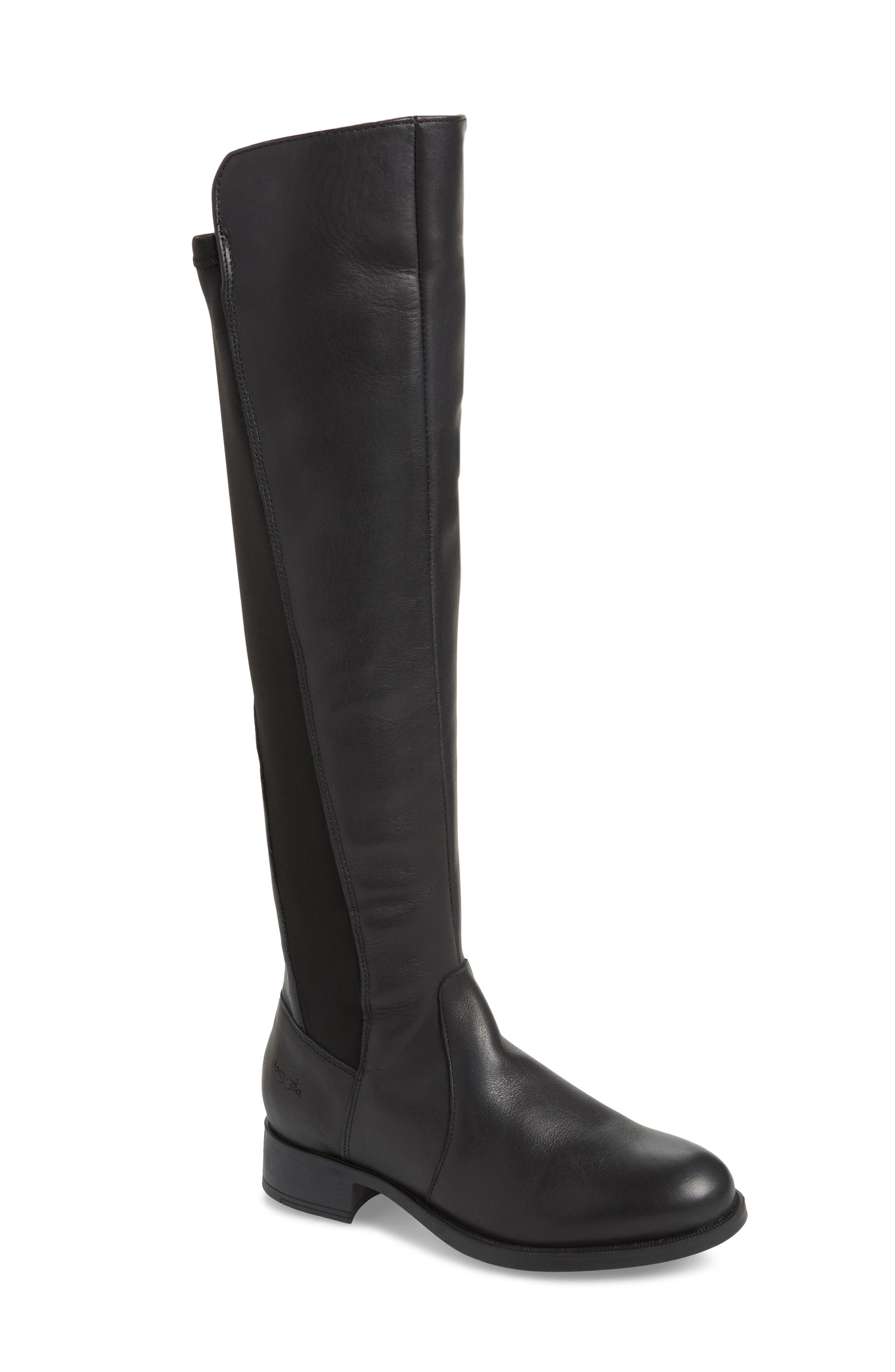 BOS. & CO. Bunt Waterproof Over the Knee Boot, Main, color, BLACK MELBOURNE/ LYCRA