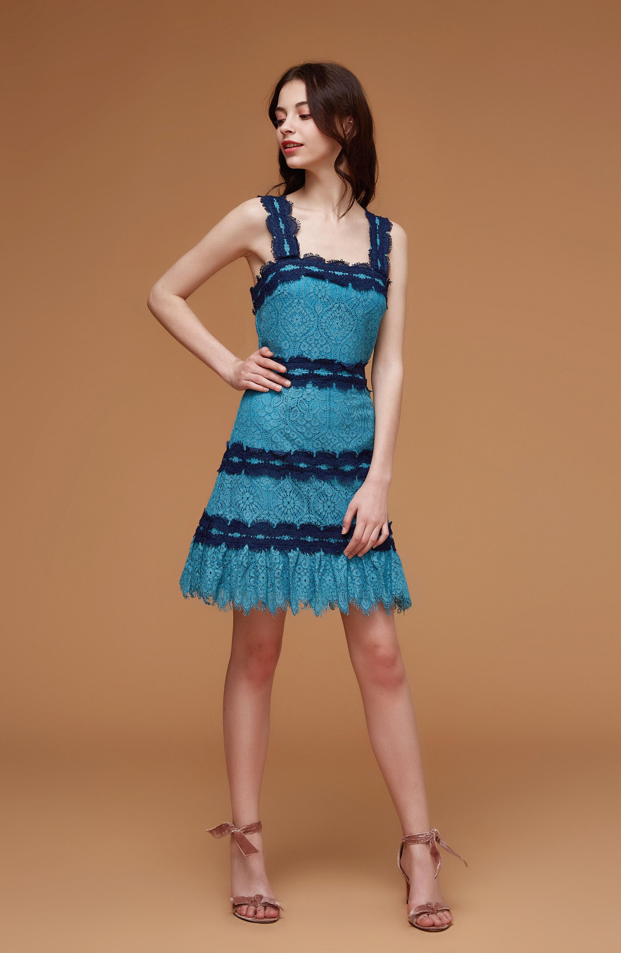 Lula Ruffle Lace Dress,                             Alternate thumbnail 8, color,                             TEAL/ NAVY
