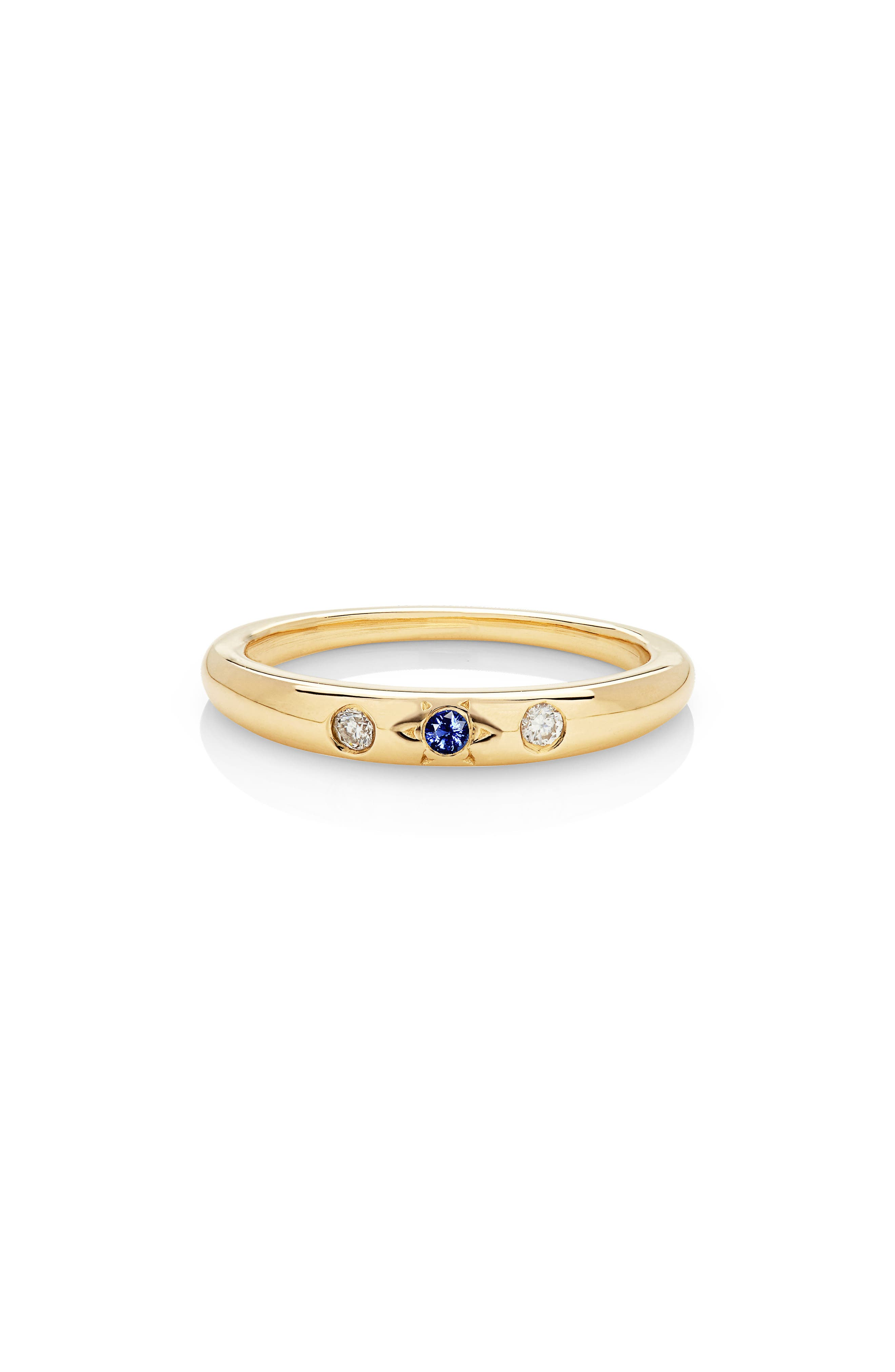 Mystic Diamond Band,                             Main thumbnail 1, color,                             YELLOW GOLD/ BLUE SAPPHIRE