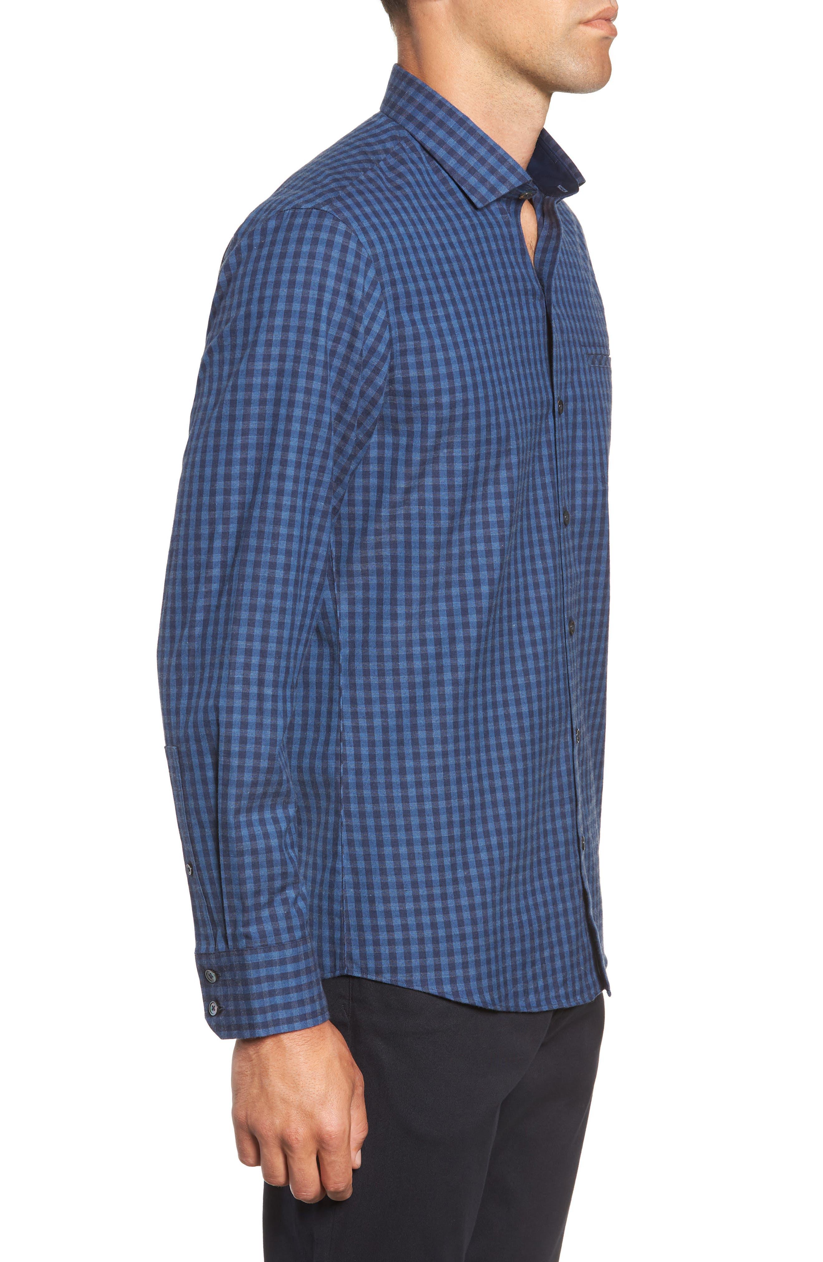 Santana Check Sport Shirt,                             Alternate thumbnail 4, color,                             DARK BLUE