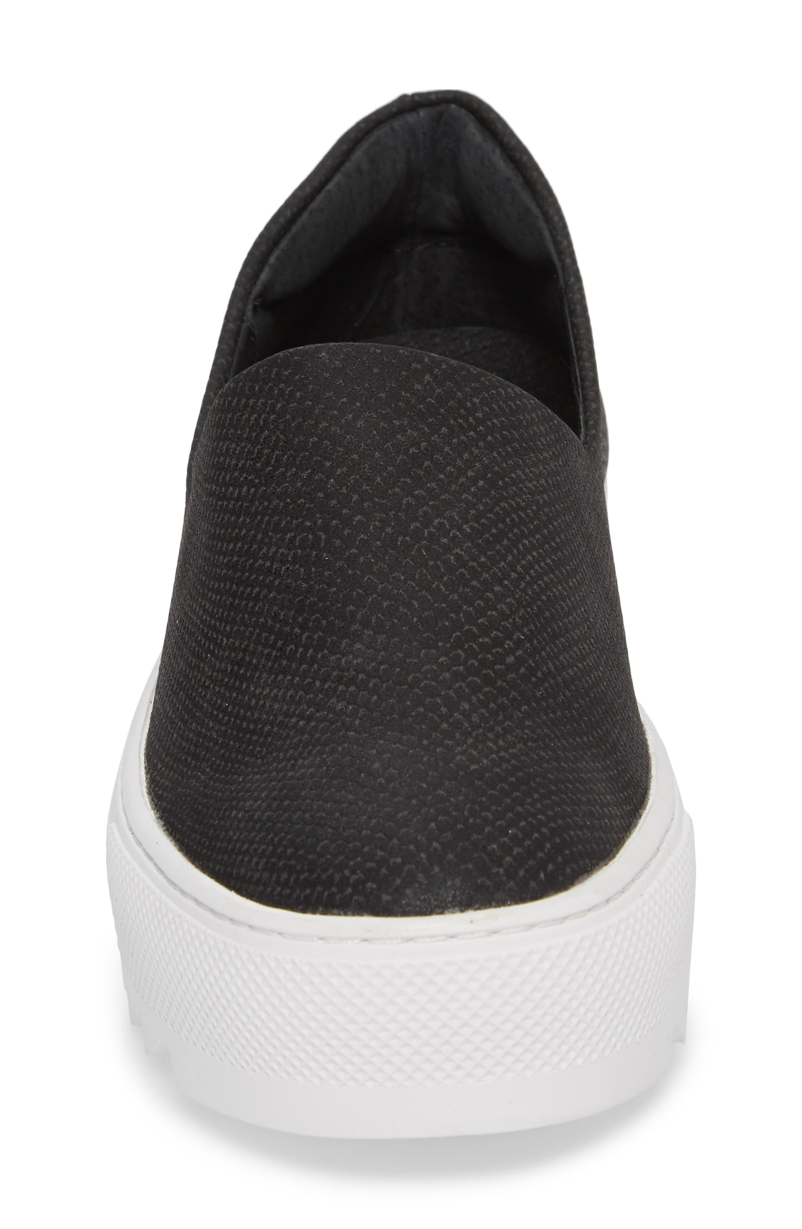 Sage Platform Slip-On Sneaker,                             Alternate thumbnail 4, color,                             BLACK MIX FABRIC