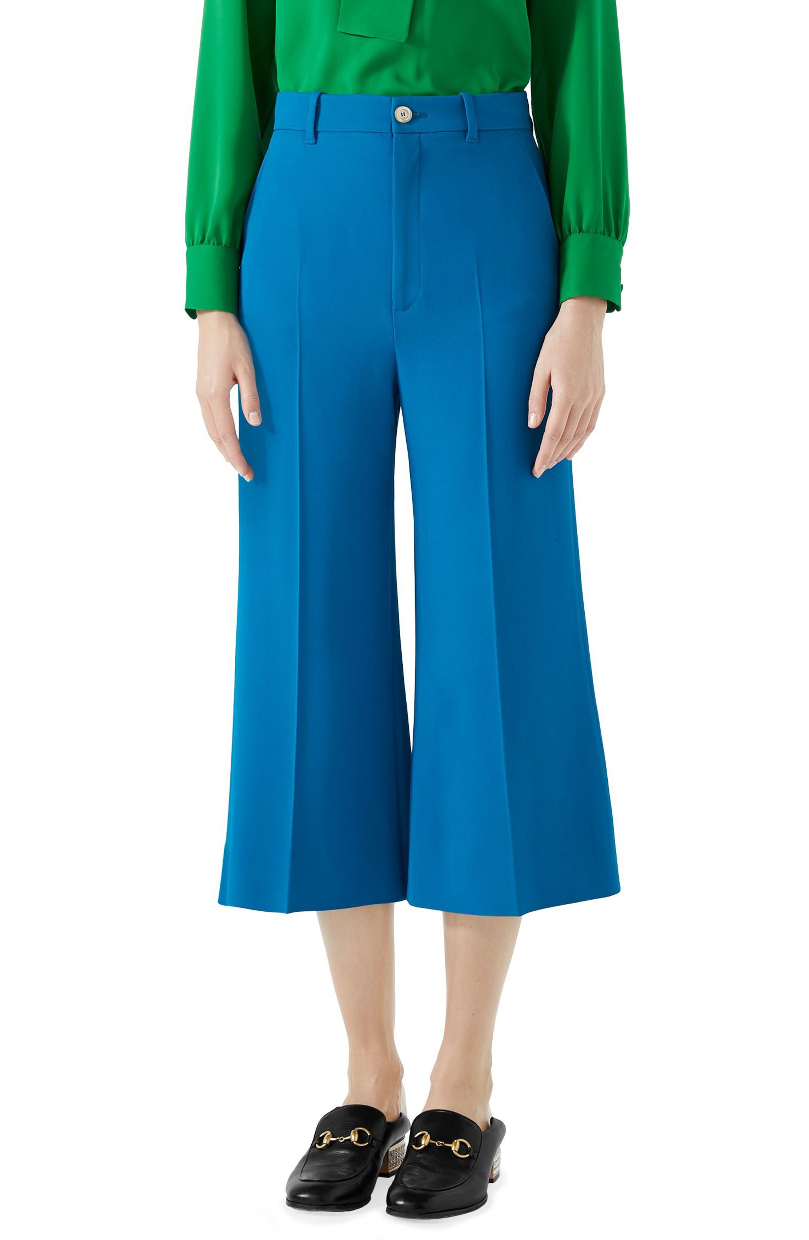Stretch Cady Wide Leg Crop Trousers,                             Main thumbnail 1, color,                             TROPICAL BLUE