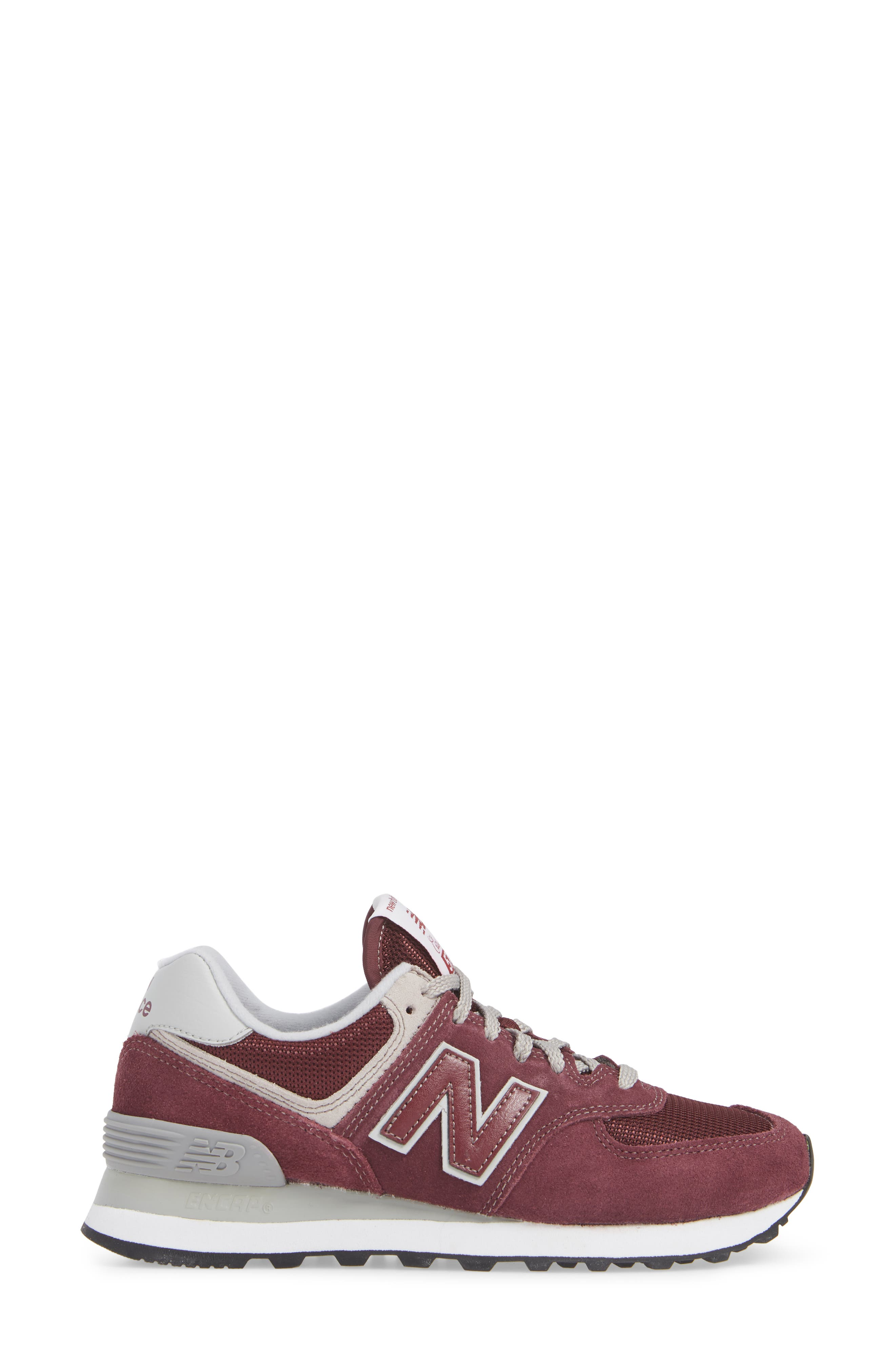 '574' Sneaker,                             Alternate thumbnail 3, color,                             BURGUNDY