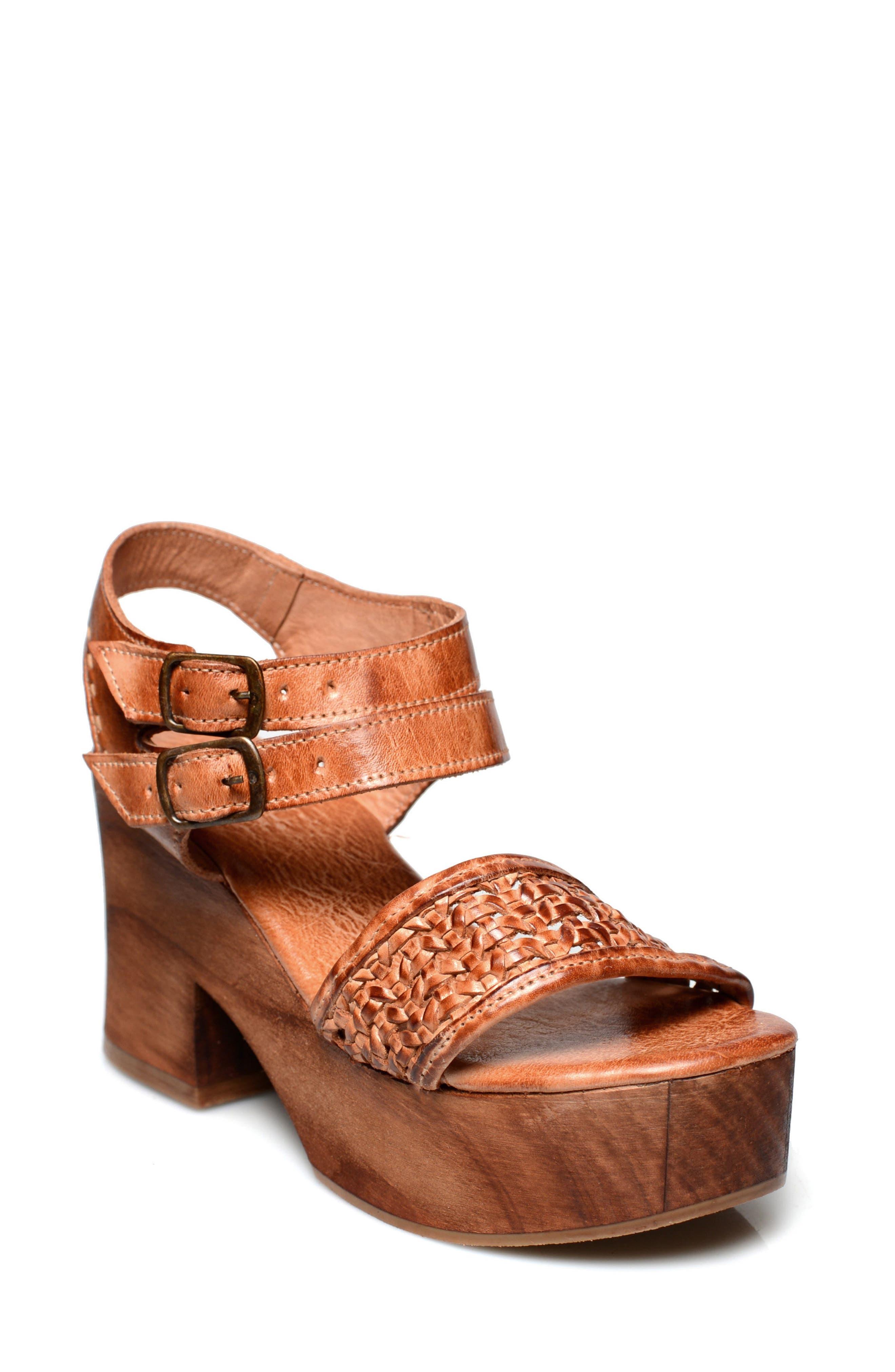 Kenya Platform Sandal,                             Main thumbnail 1, color,                             COGNAC LEATHER