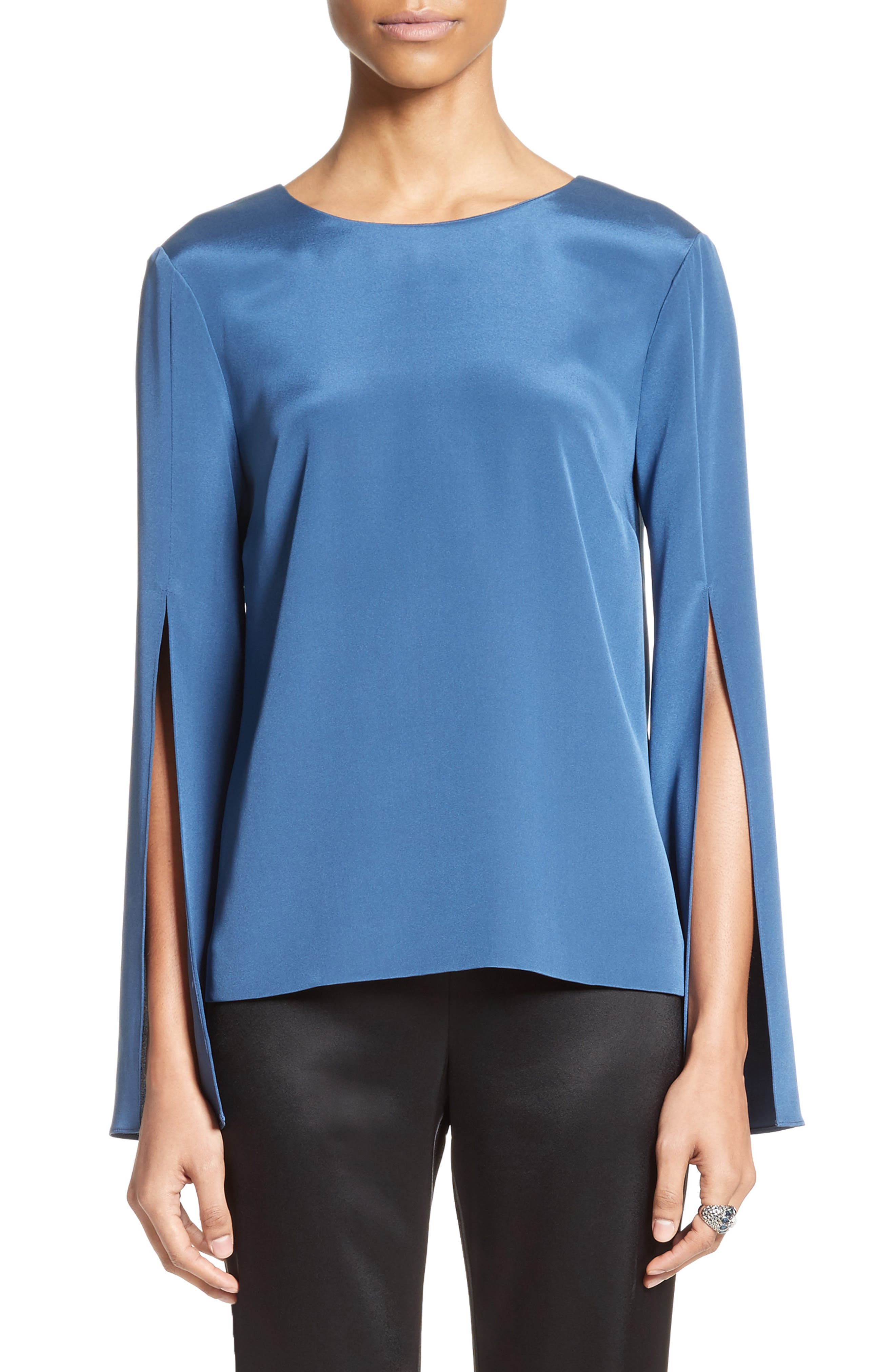 Back Bow Stretch Silk Blouse,                             Main thumbnail 1, color,
