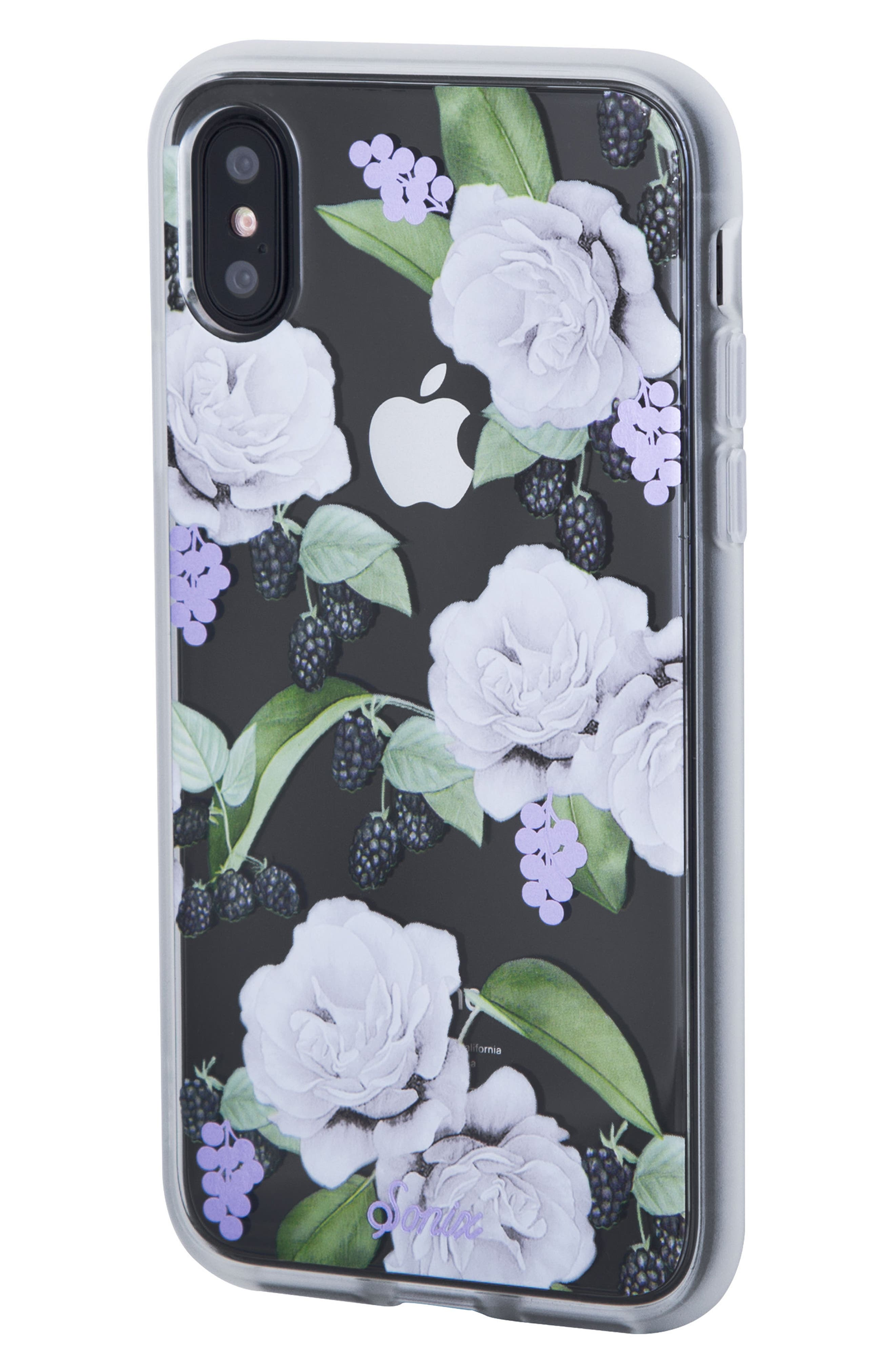 Floral Berry iPhone X & Xs Case,                             Alternate thumbnail 2, color,                             WHITE/ LILAC