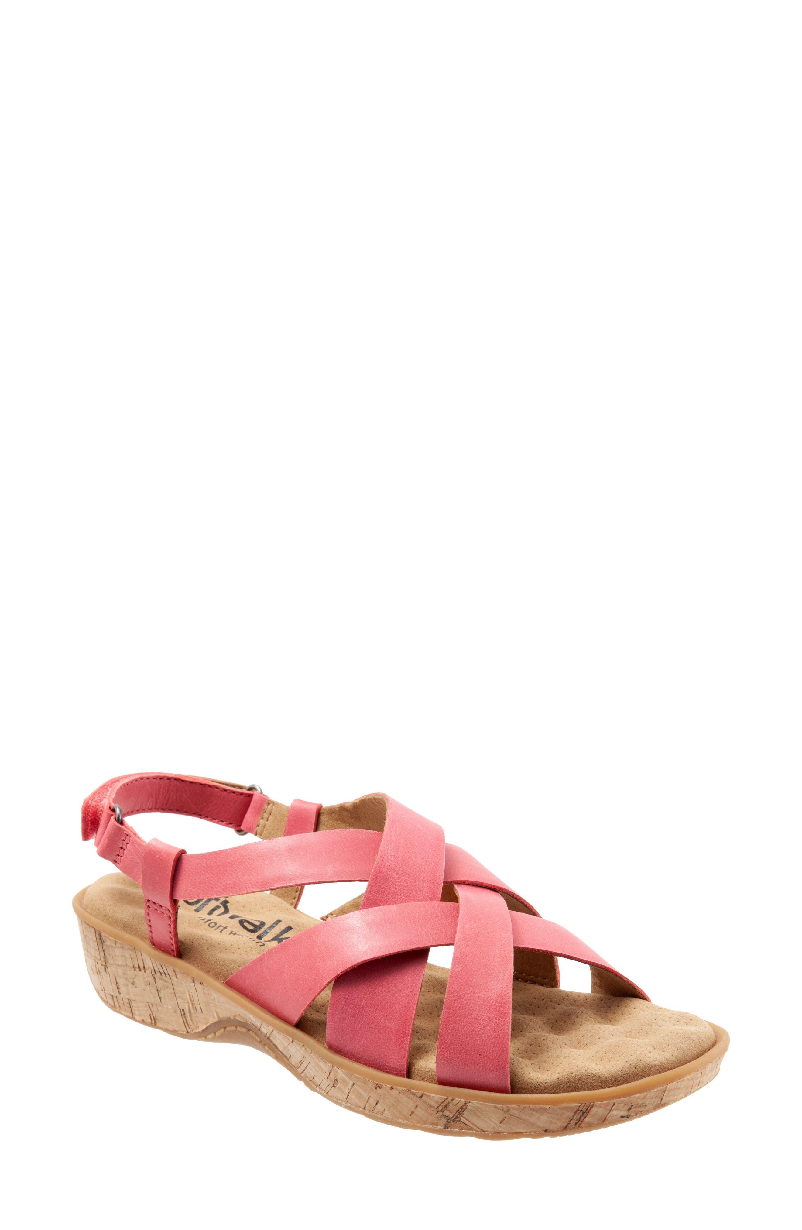 Softwalk Bonaire Cross Strap Sandal, Pink