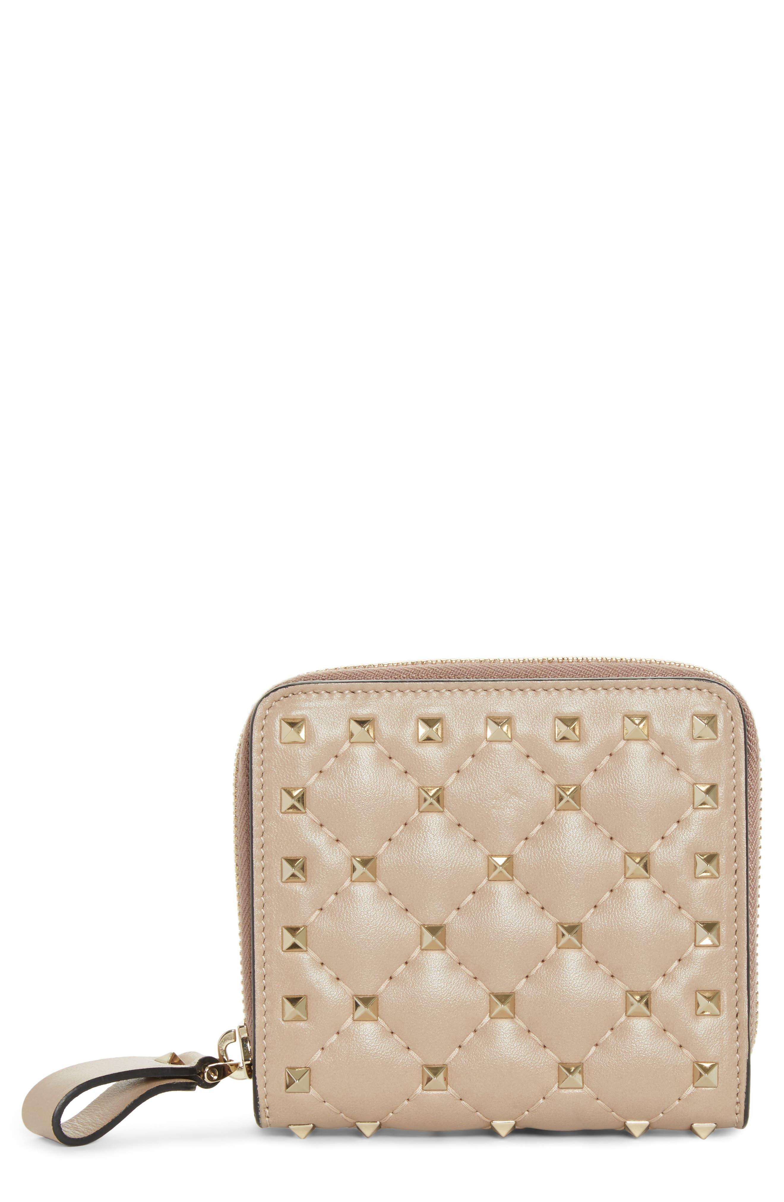 Rockstud Matelassé Leather French Wallet,                         Main,                         color, POUDRE