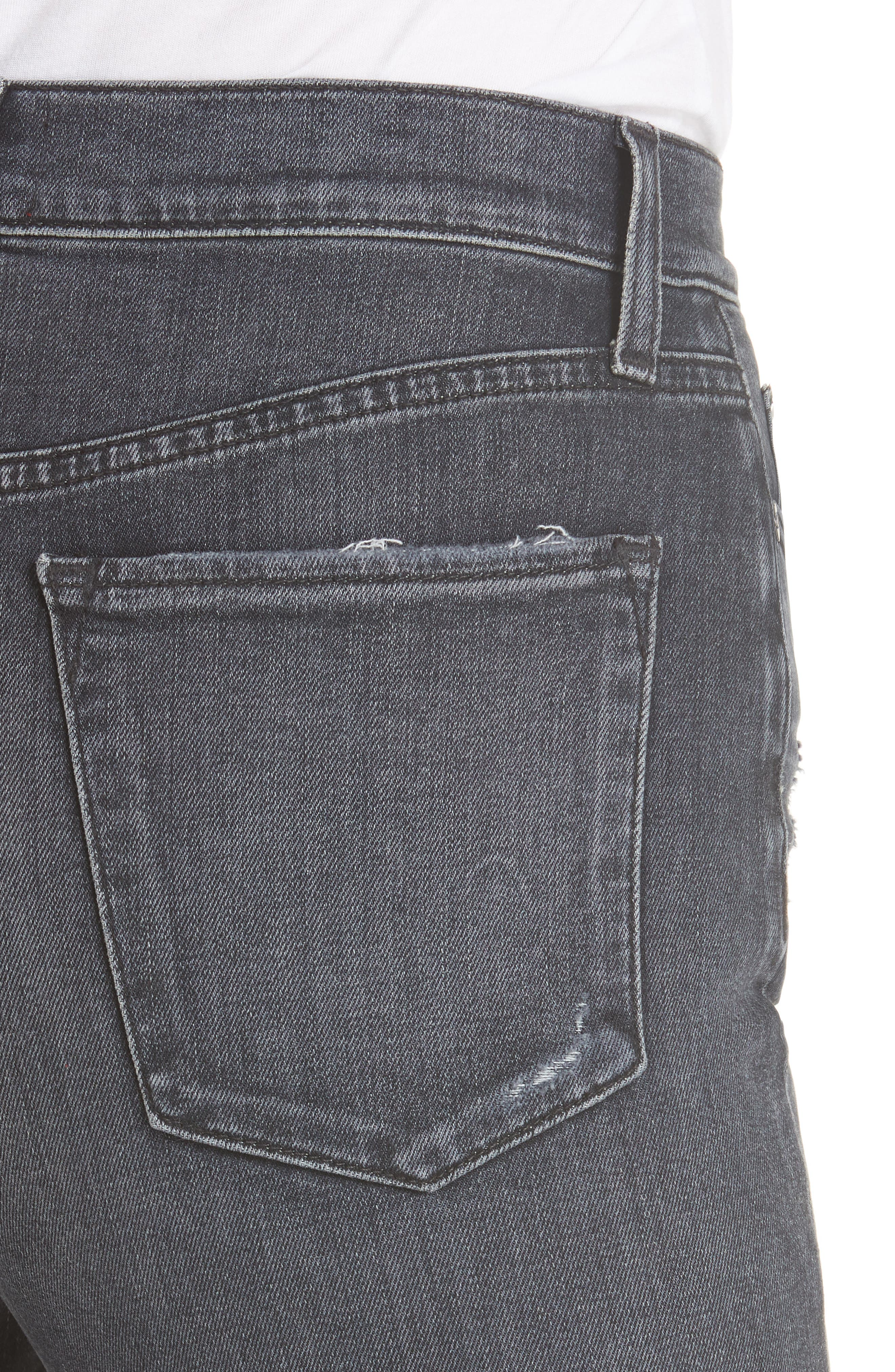 Good High Waist Ankle Skinny Jeans,                             Alternate thumbnail 4, color,                             BLACK MAGIC