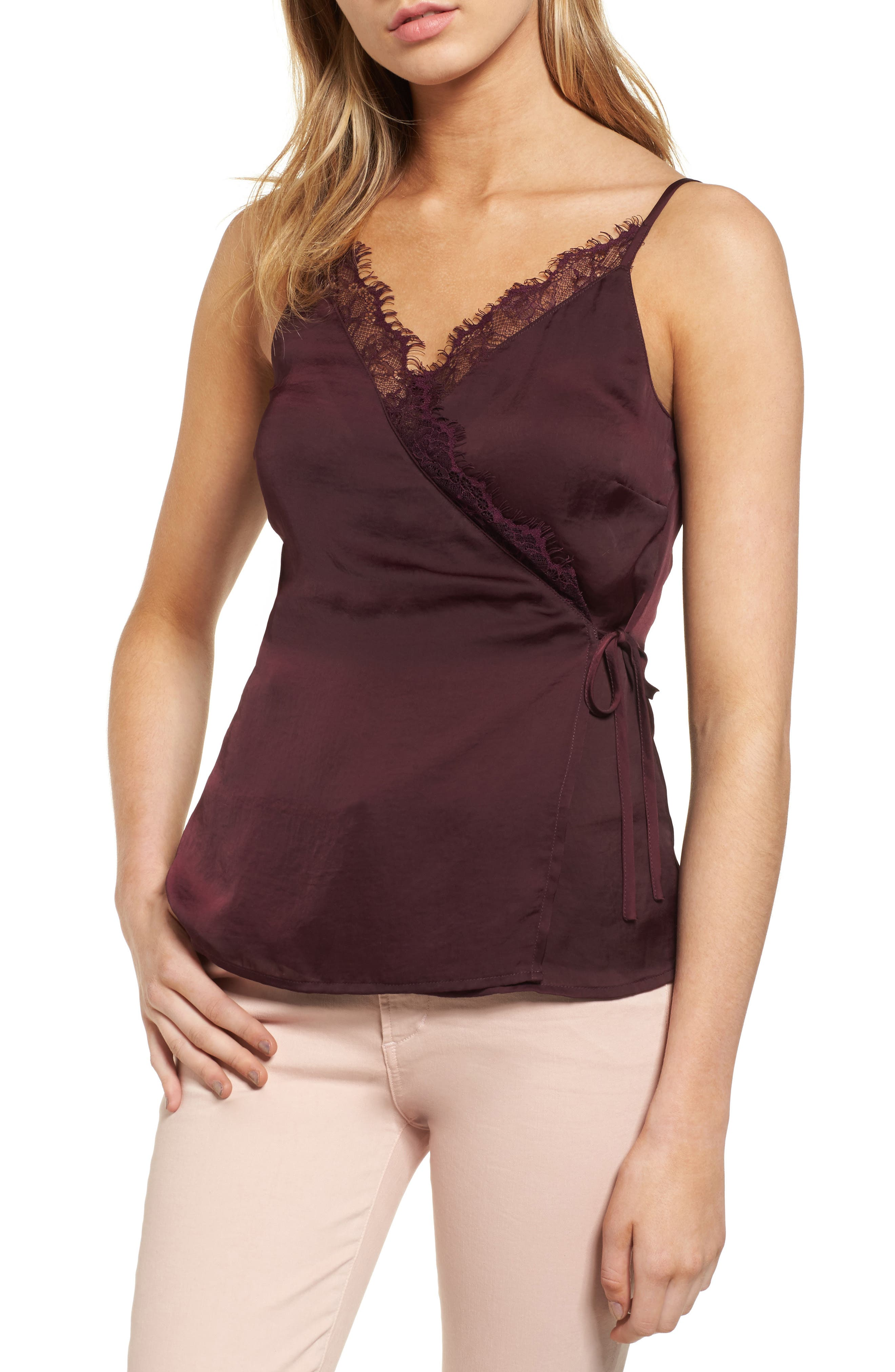 Satin Wrap Camisole,                             Main thumbnail 2, color,