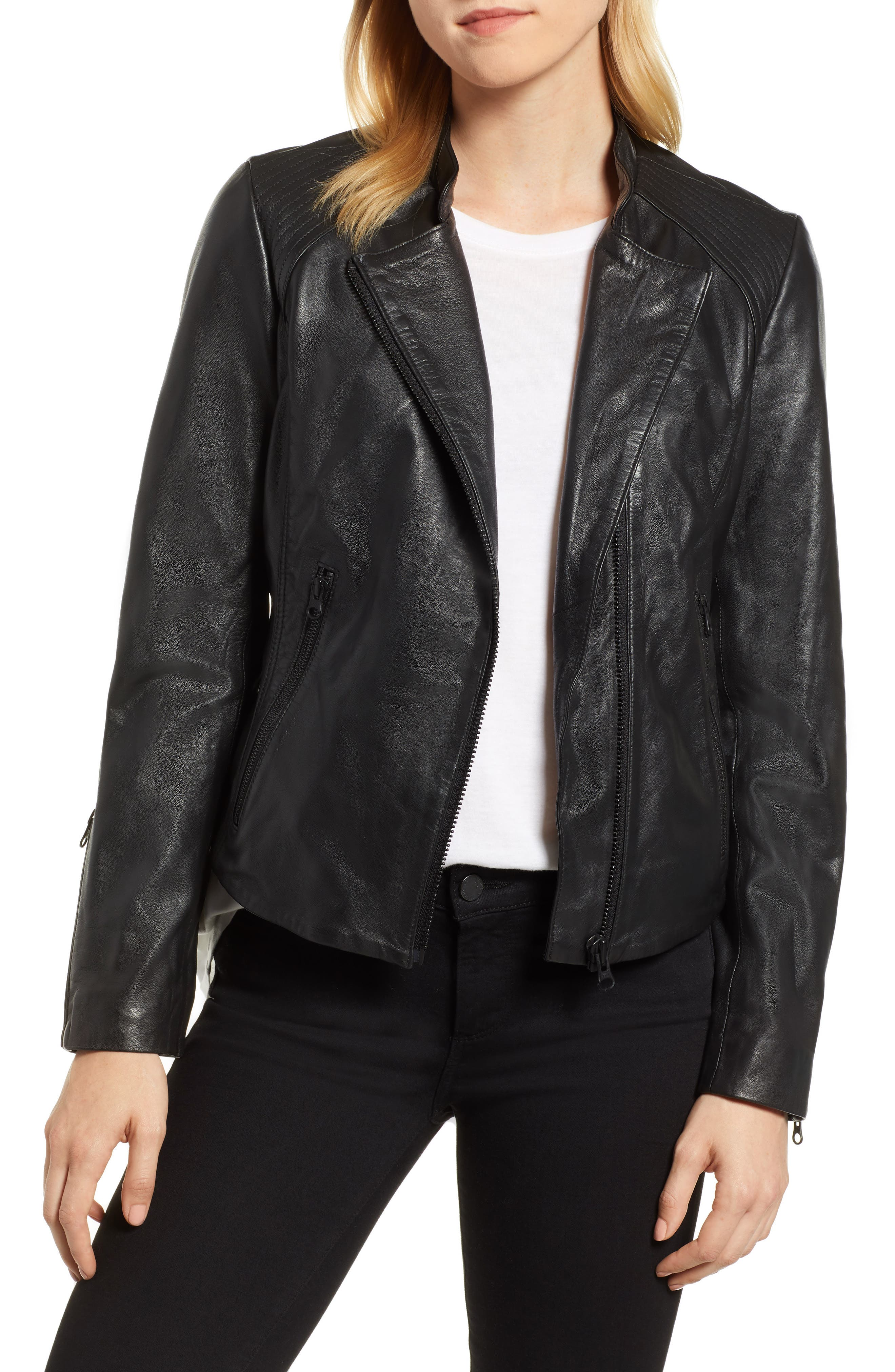 Zip Racer Leather Jacket,                         Main,                         color, BLACK