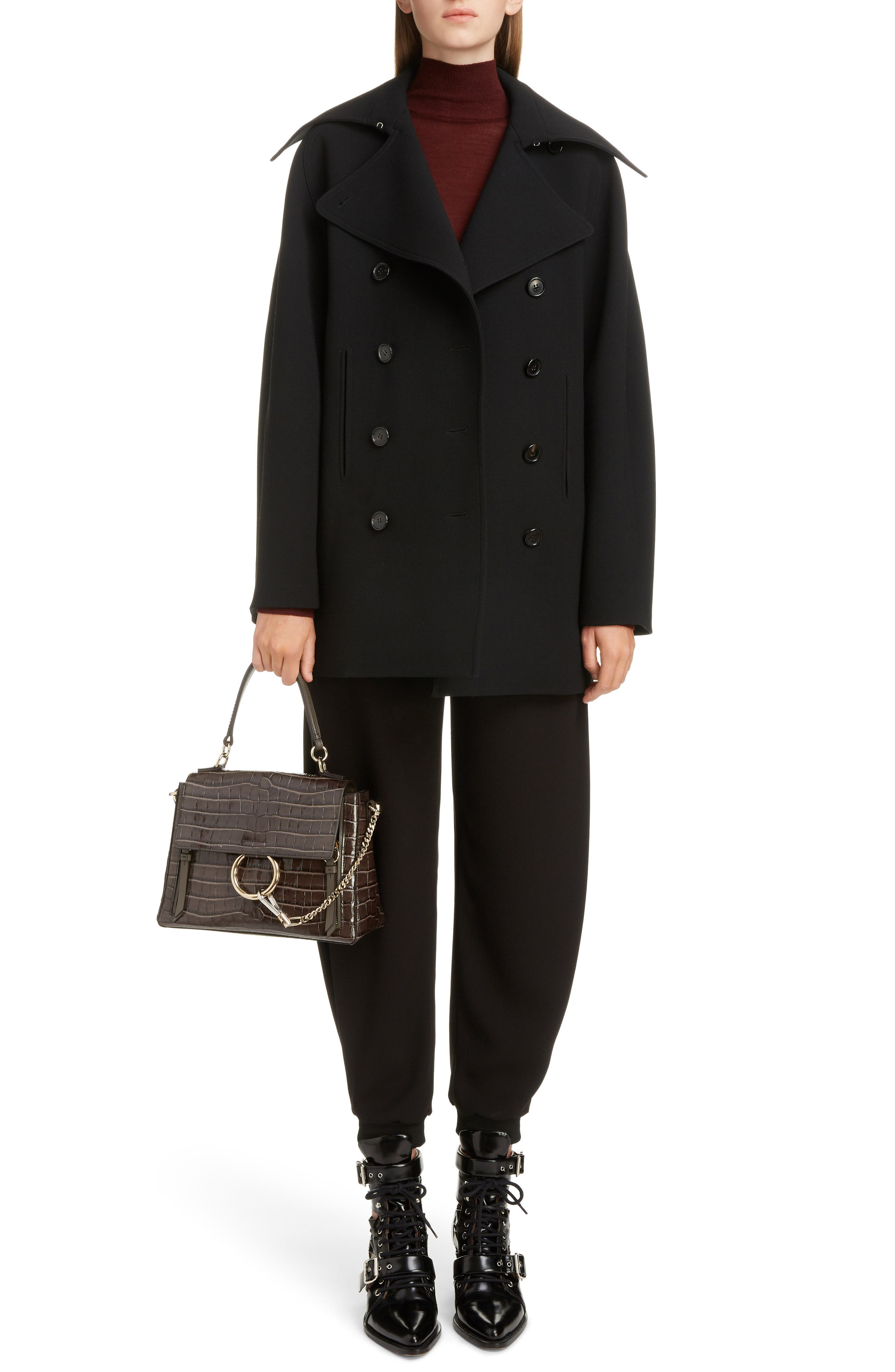 Medium Faye Day Croc Embossed Leather Shoulder Bag,                             Alternate thumbnail 2, color,                             AUTUMNAL BROWN