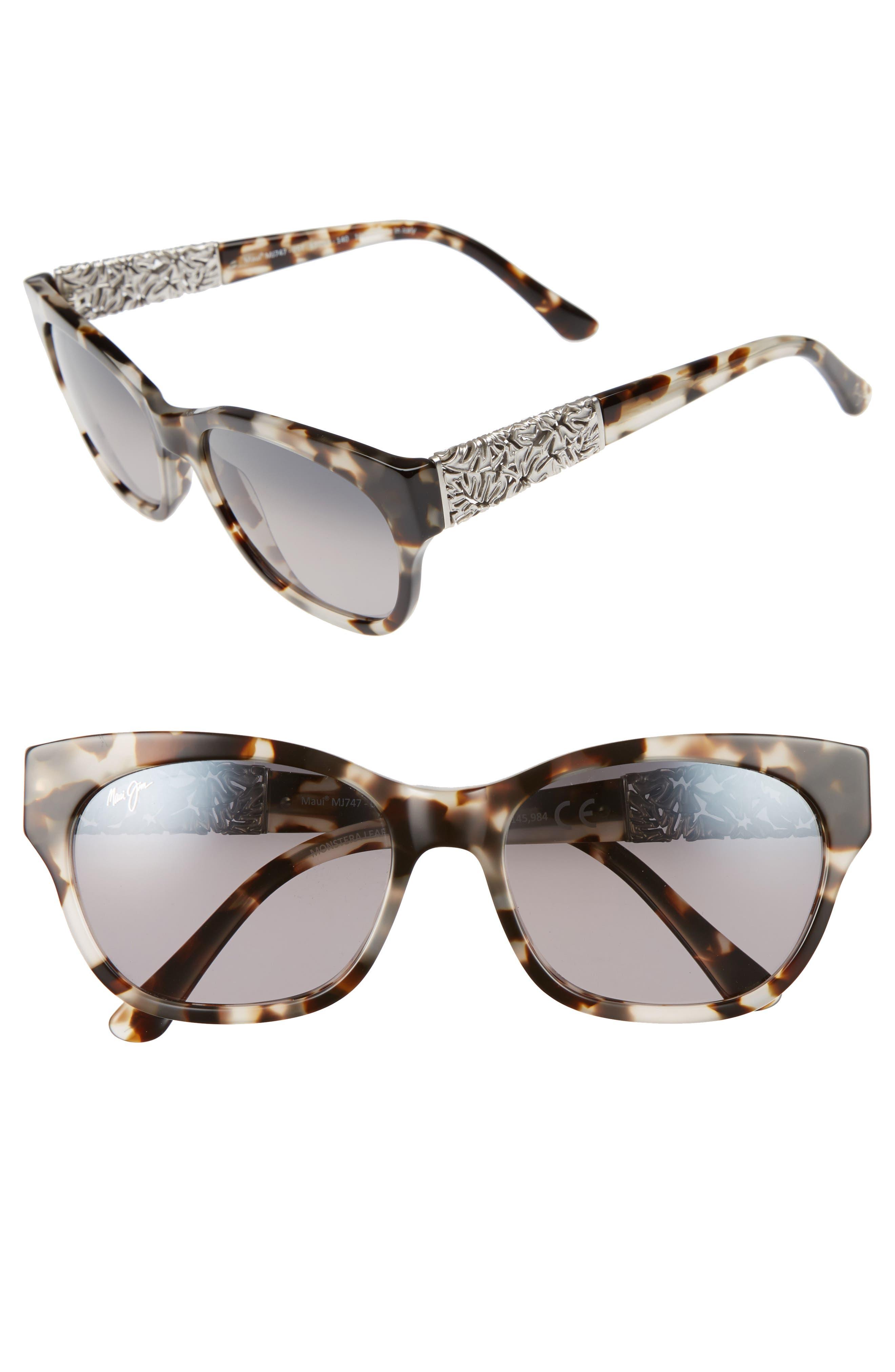 Monstera Leaf 57mm Polarized Sunglasses,                             Main thumbnail 1, color,                             100