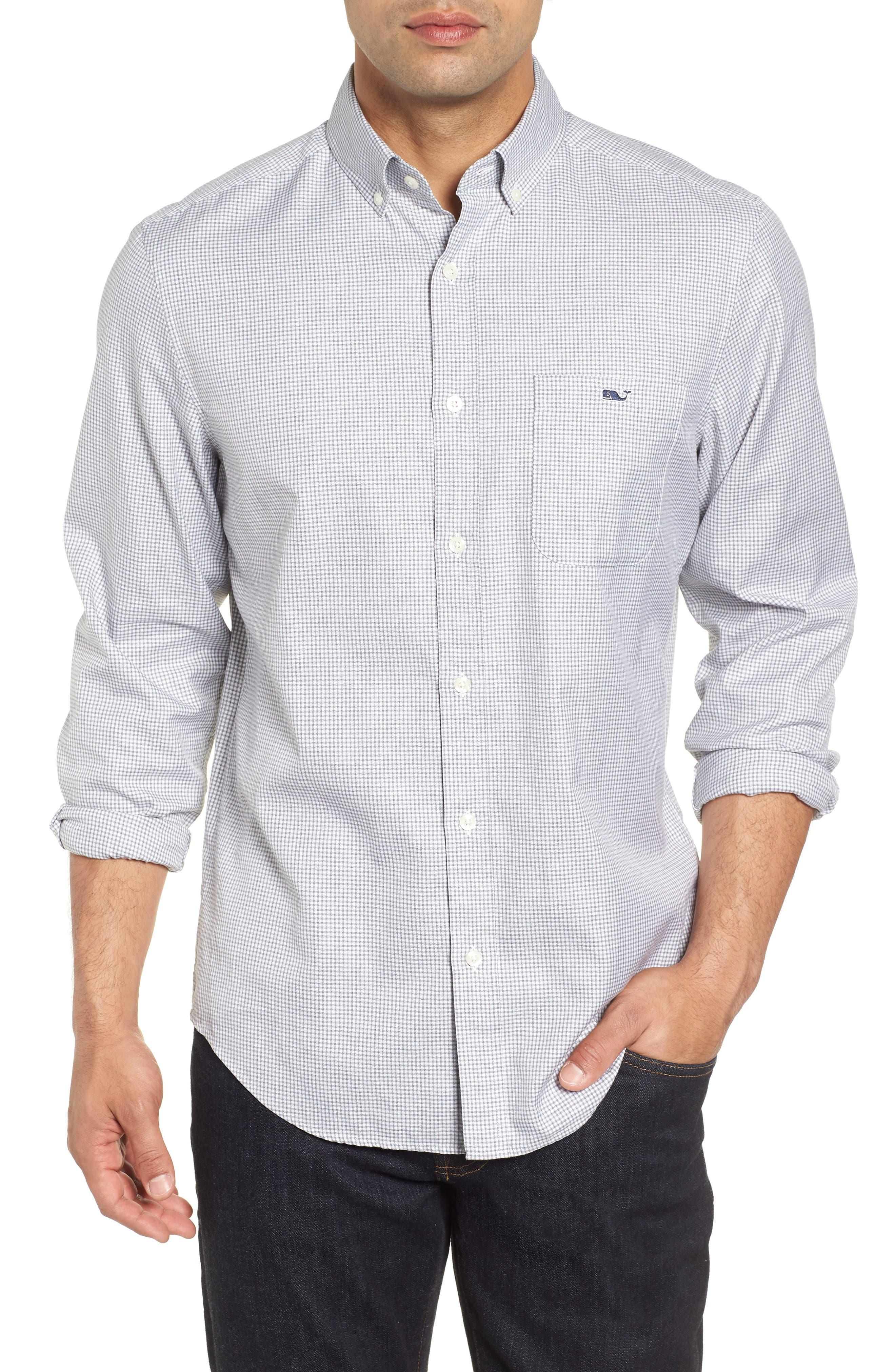 Kettle Cove Regular Fit Gingham Sport Shirt,                         Main,                         color, BARRACUDA