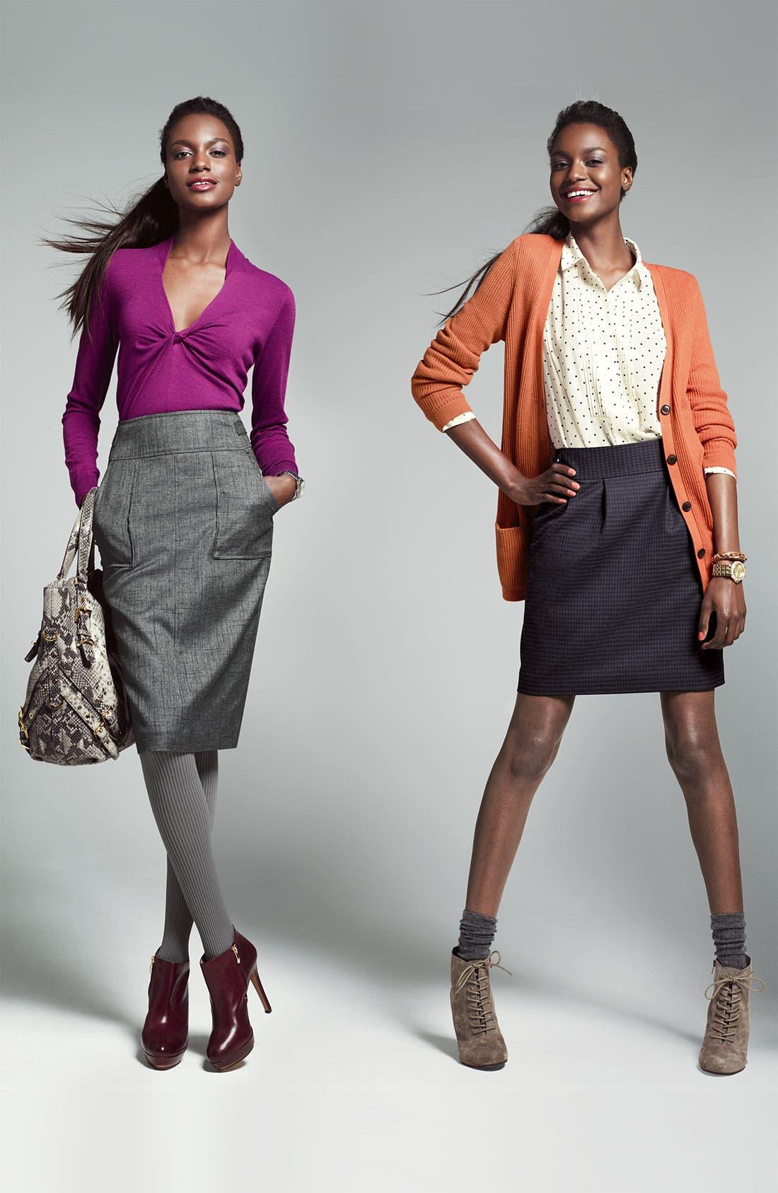 HALOGEN<SUP>®</SUP>,                             Patch Pocket Pencil Skirt,                             Alternate thumbnail 5, color,                             001