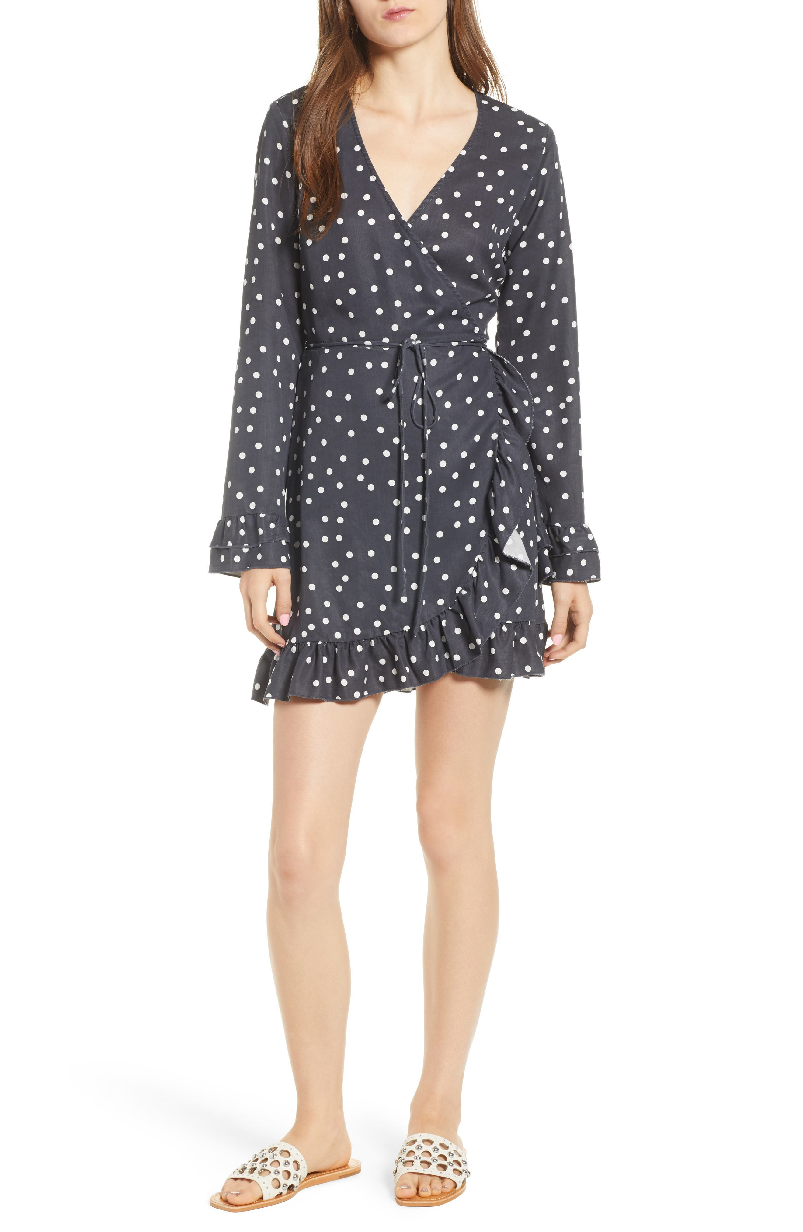 Ainsley Wrap Dress,                         Main,                         color, MIDNIGHT POLKA DOT