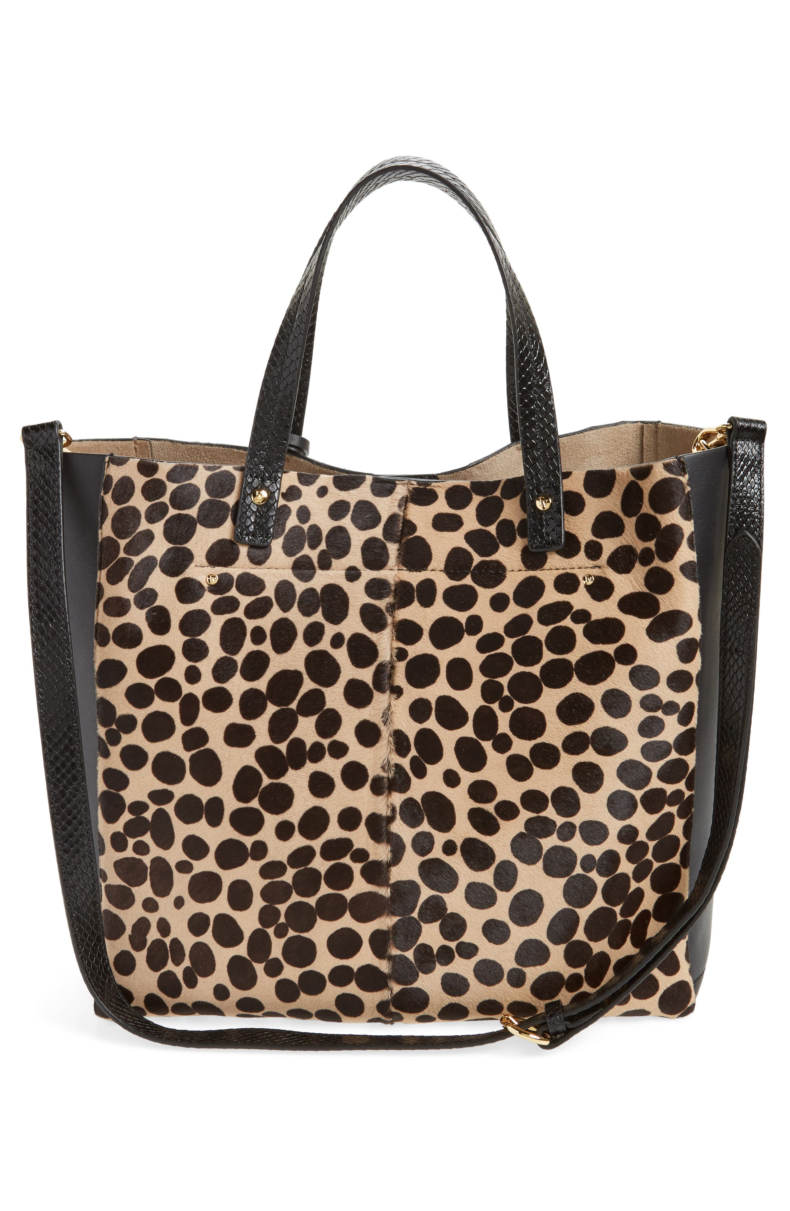 Genuine Calf Hair & Leather Convertible Tote,                             Alternate thumbnail 3, color,