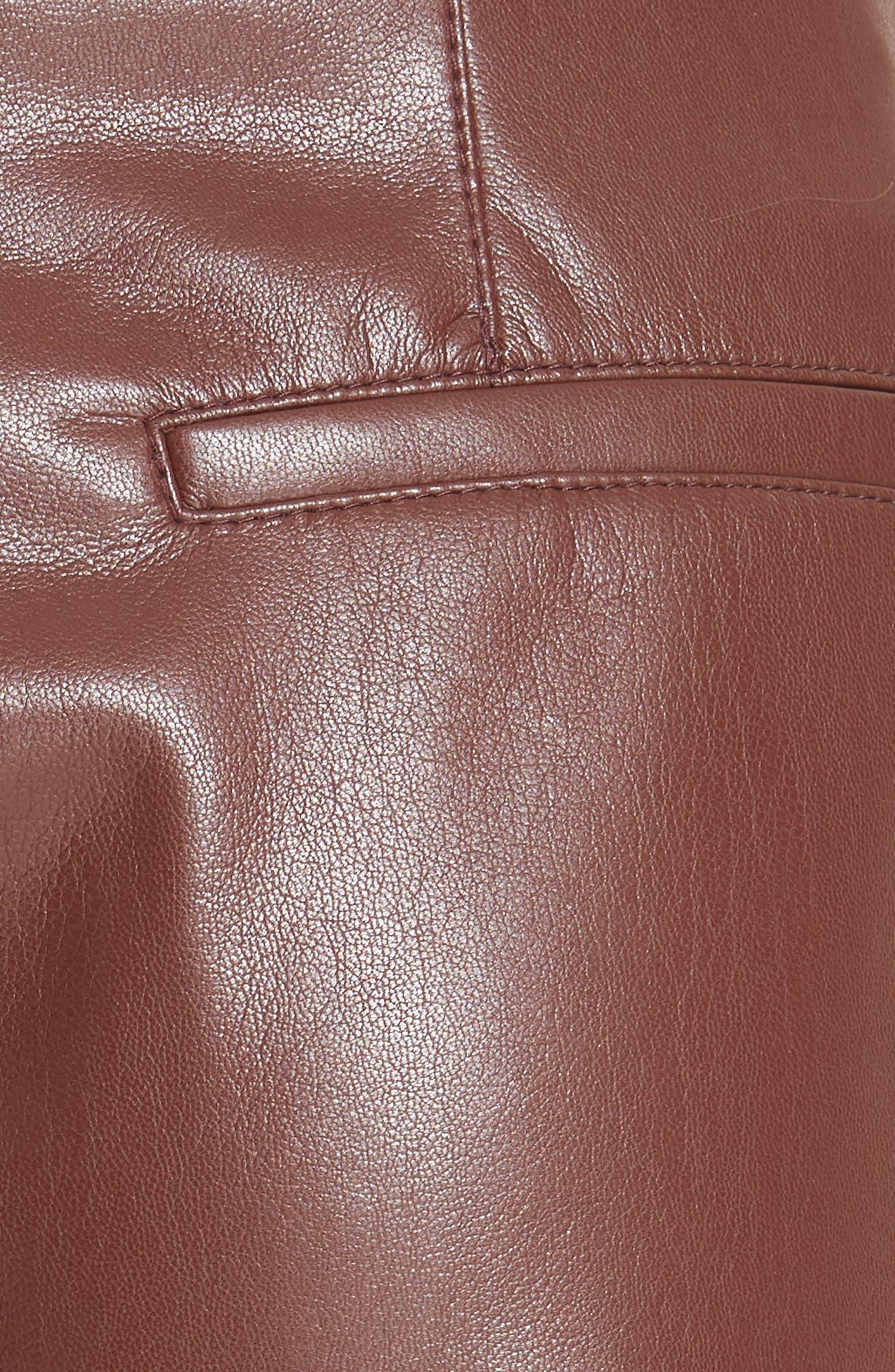 Africa Faux Leather Wide Leg Crop Pants,                             Alternate thumbnail 5, color,                             PLUM CHUTNEY