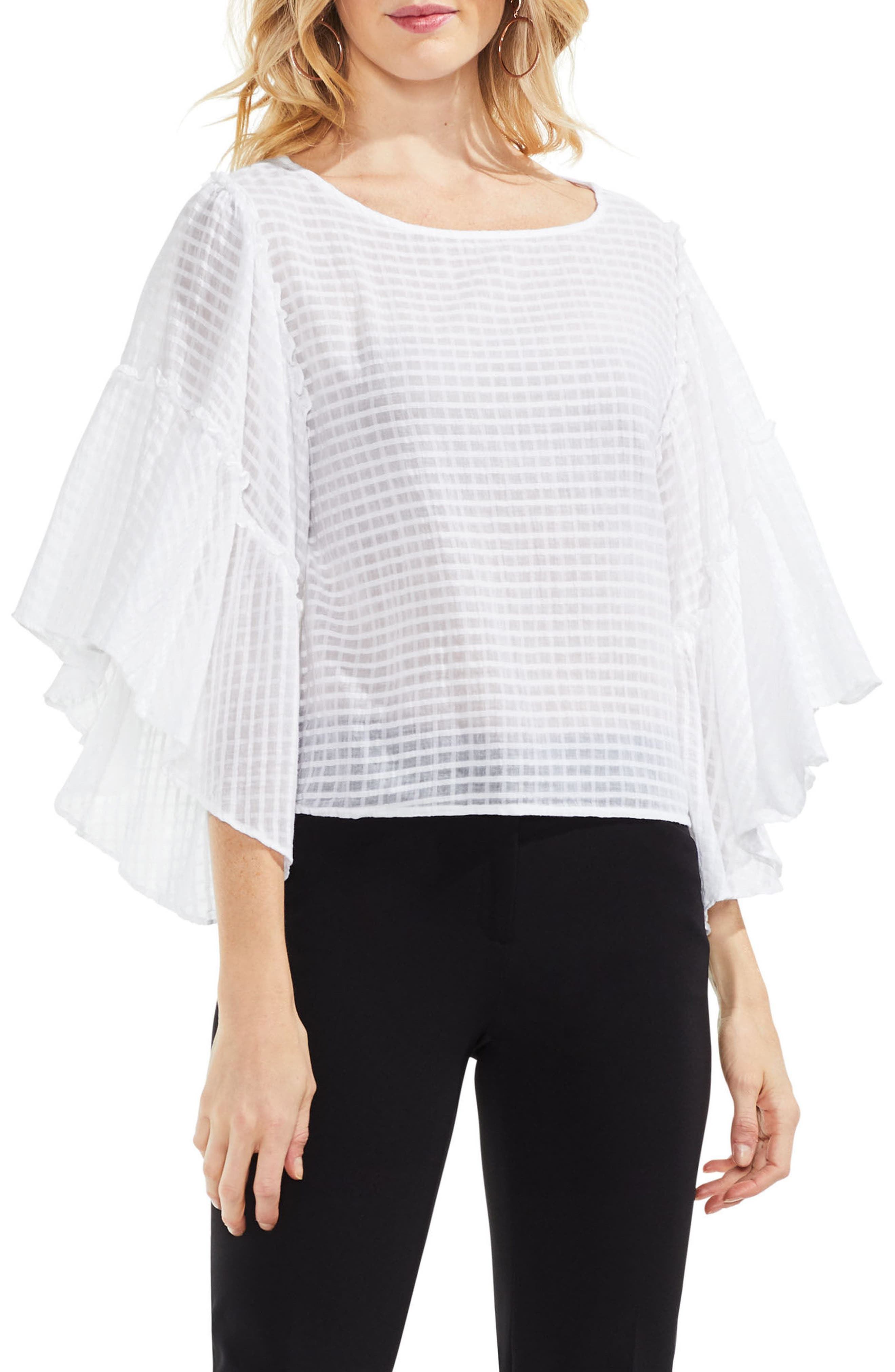 Grid Drop Shoulder Ruffle Sleeve Blouse,                         Main,                         color,
