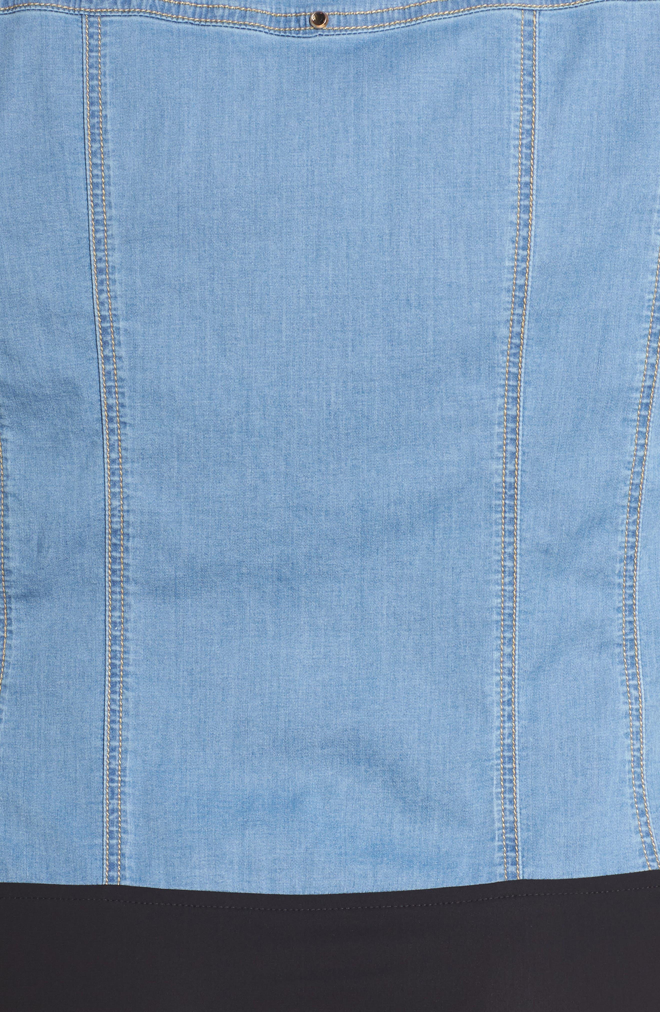 Bangkok Denim Shirt Bodysuit,                             Alternate thumbnail 6, color,                             454