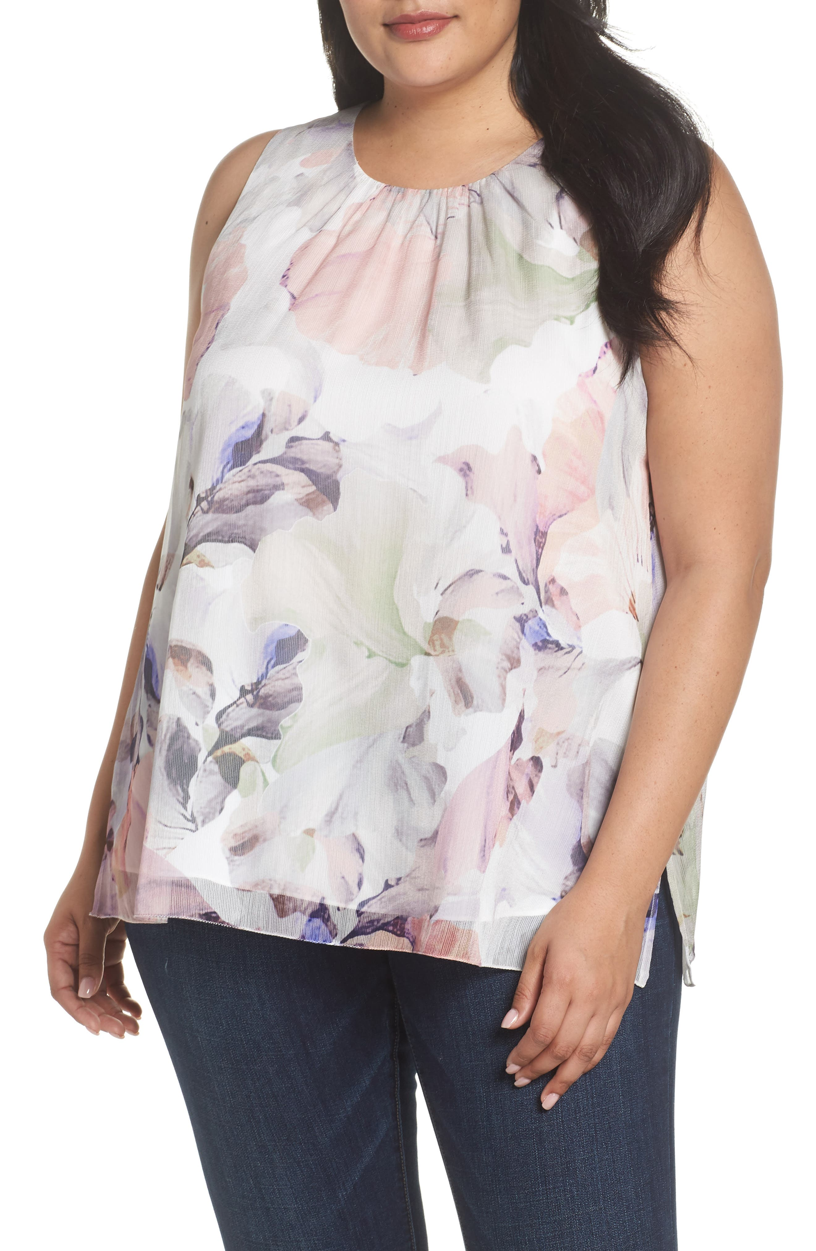 VINCE CAMUTO Diffused Blooms Blouse, Main, color, 903