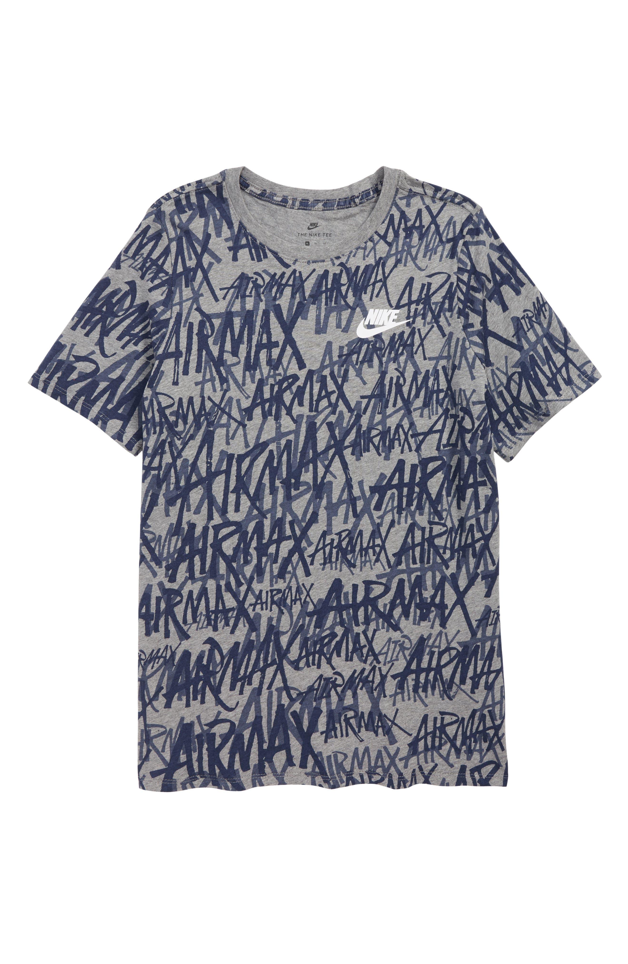 Sportswear Air Max Logo T-Shirt,                         Main,                         color, CARBON HEATHER/ OBSIDIAN