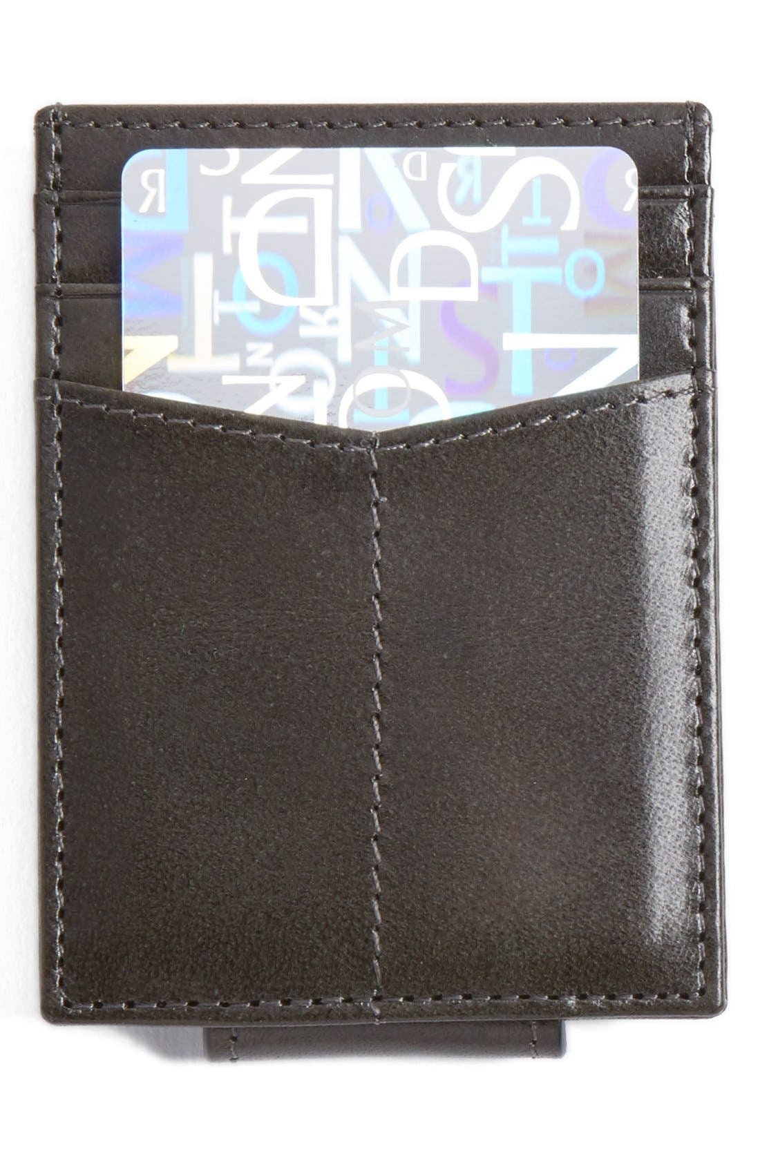 Leather Money Clip Card Case,                             Main thumbnail 1, color,                             CHARCOAL