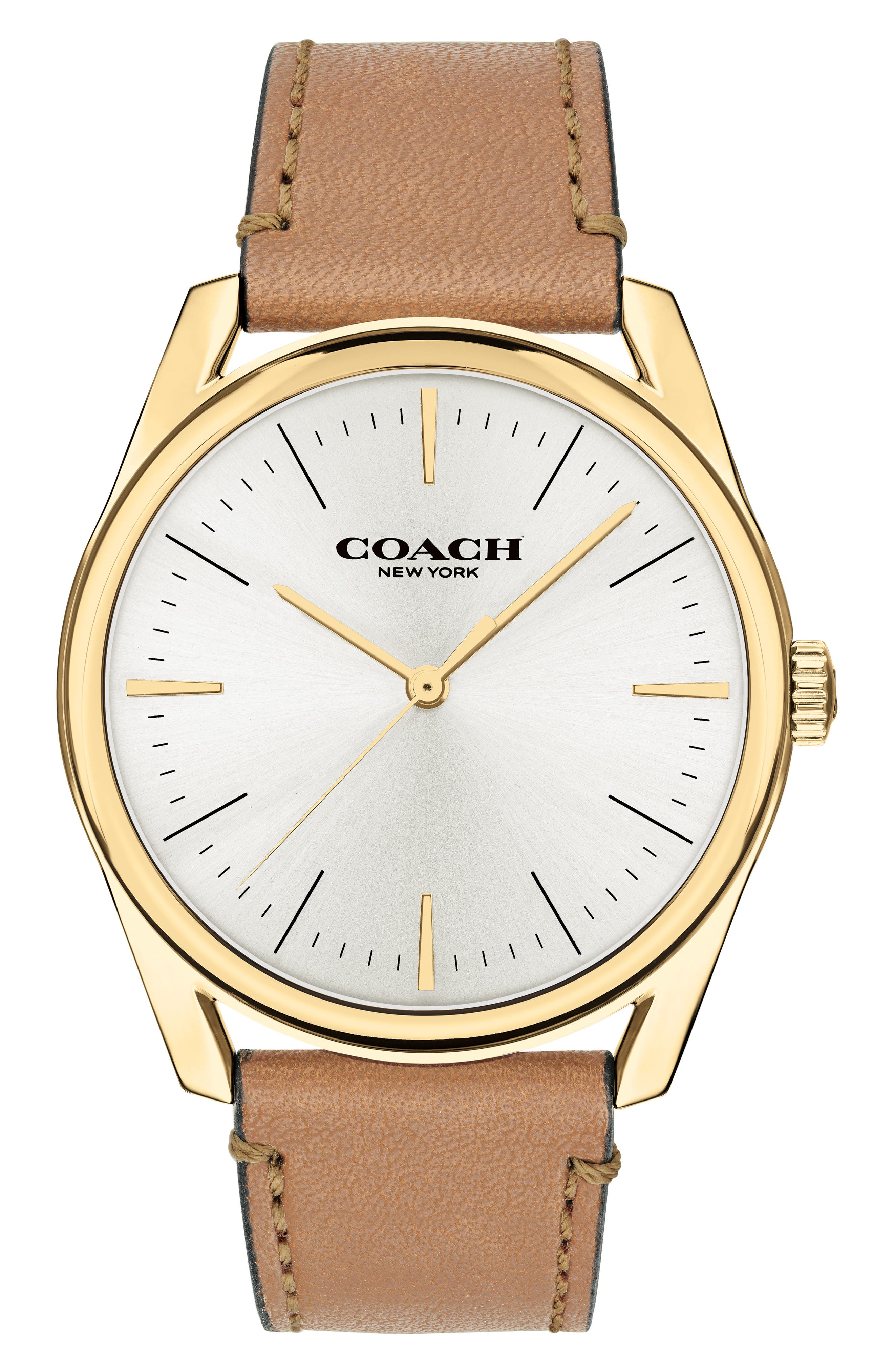 Preston Leather Strap Watch, 41mm,                         Main,                         color, CAMEL/ GOLD/ SILVER