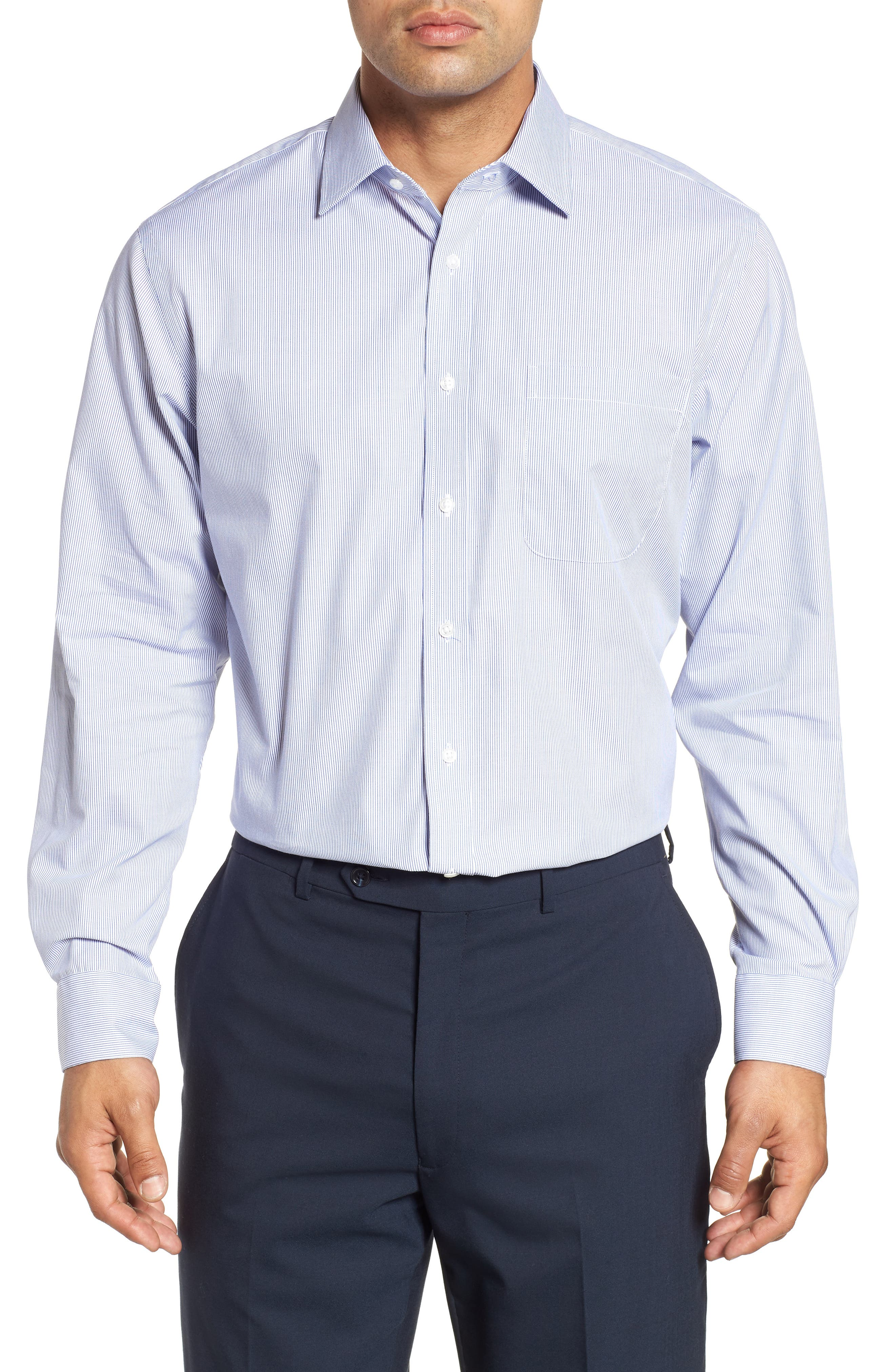 Traditional Fit Non-Iron Stripe Dress Shirt,                         Main,                         color, NAVY PATRIOT