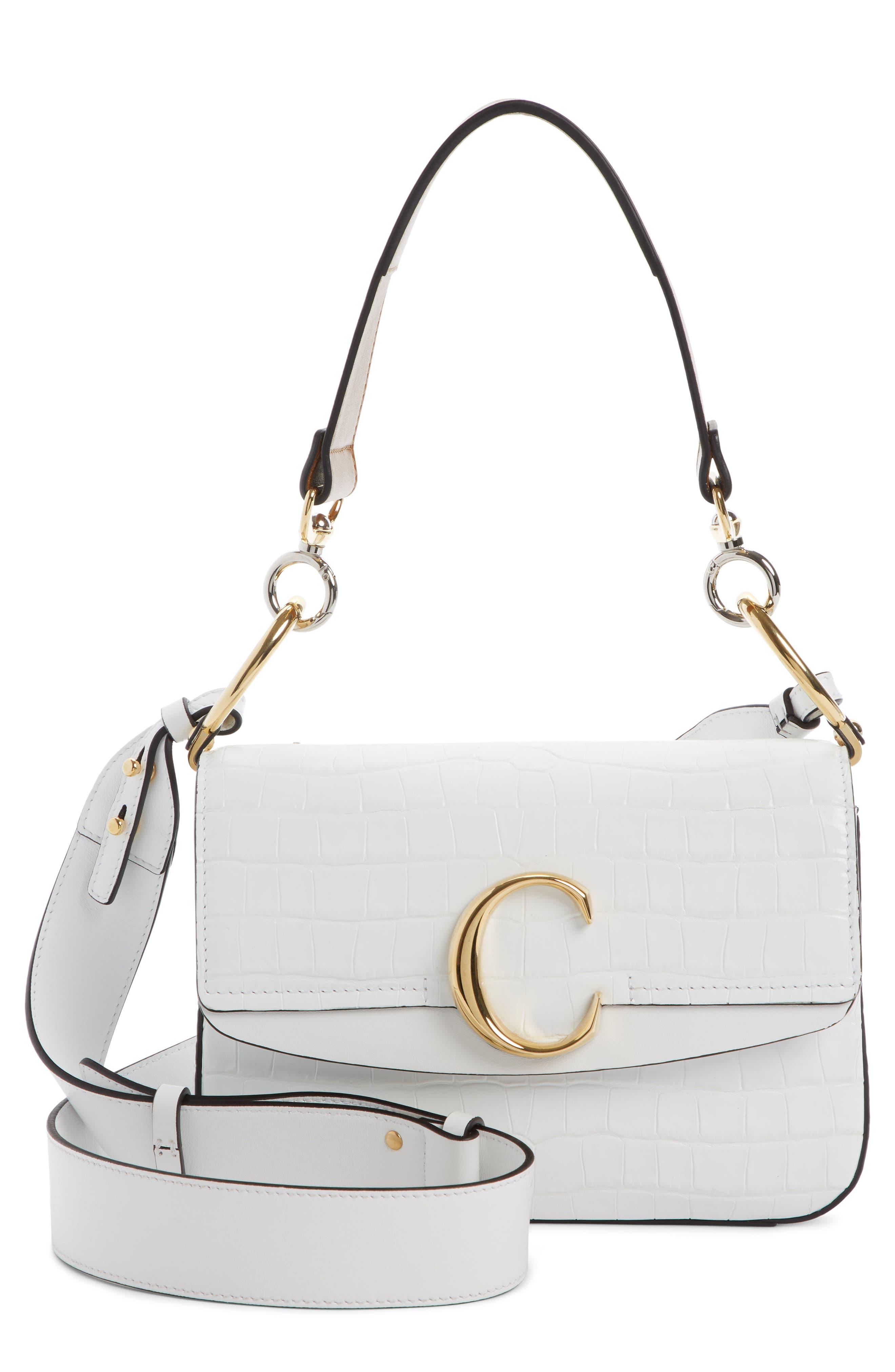 Croc Embossed Leather Shoulder Bag,                             Main thumbnail 1, color,                             BRILLIANT WHITE