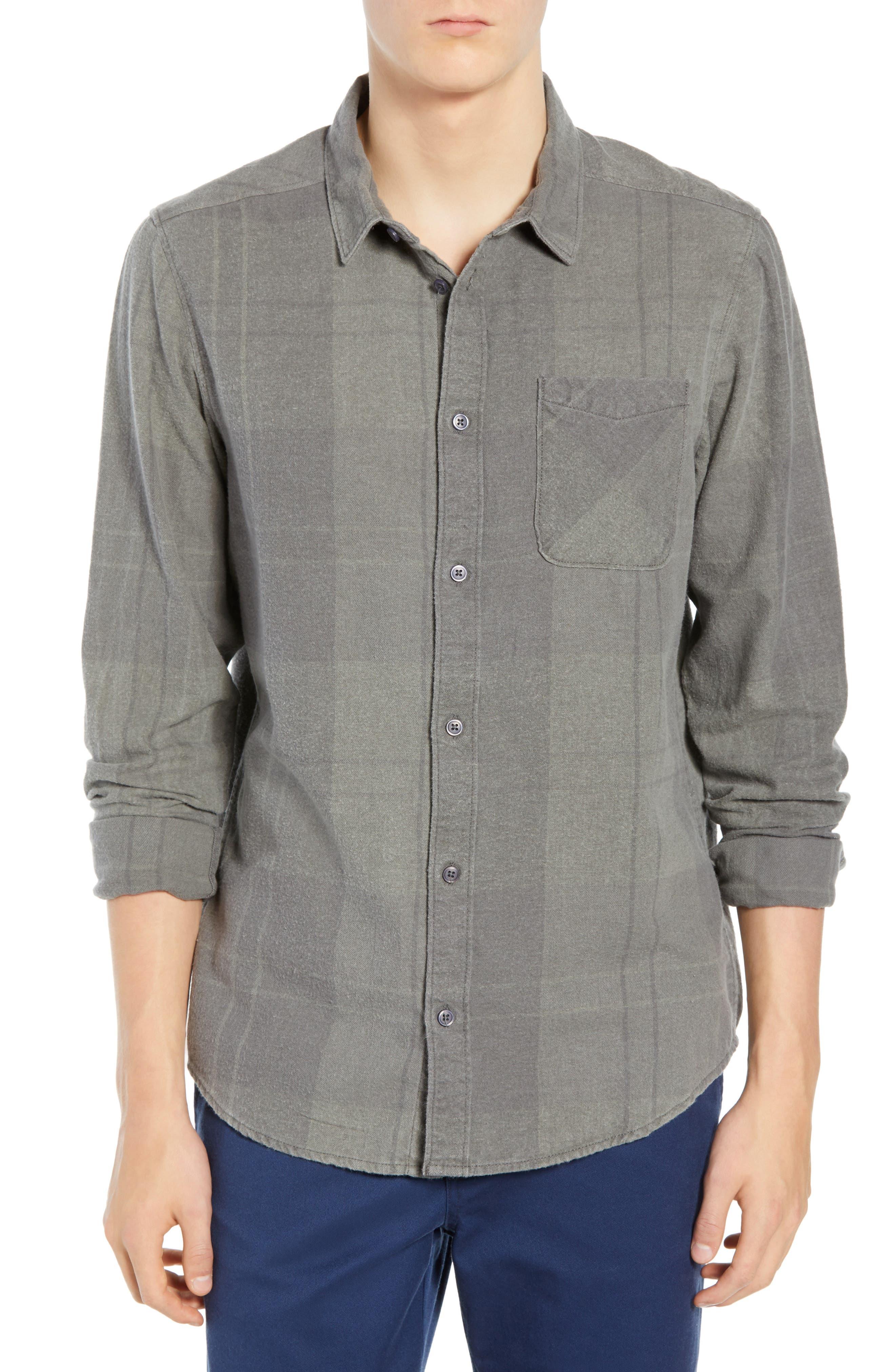 Rvca Good Stuff Check Flannel Shirt, Grey