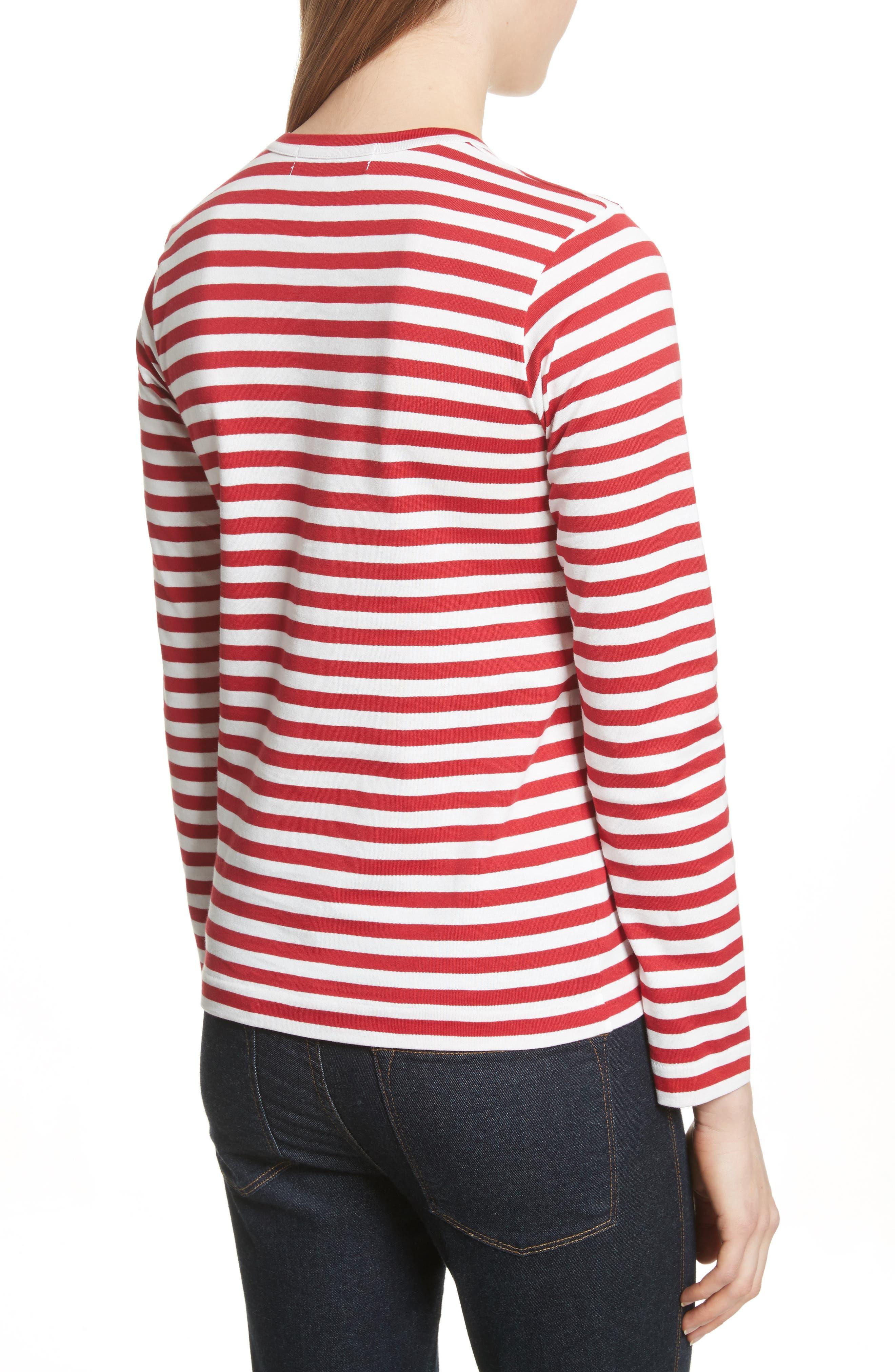 Stripe Cotton Tee,                             Alternate thumbnail 2, color,                             RED/ WHITE