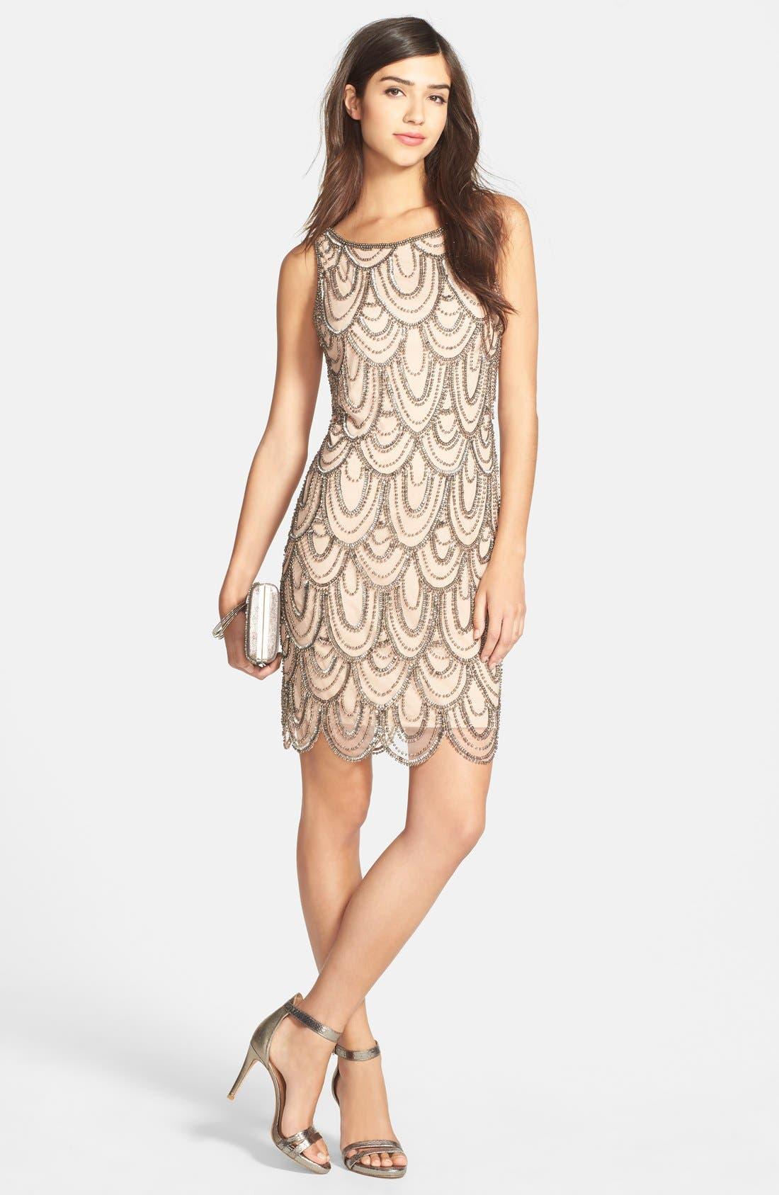 Embellished Mesh Sheath Dress,                             Alternate thumbnail 73, color,
