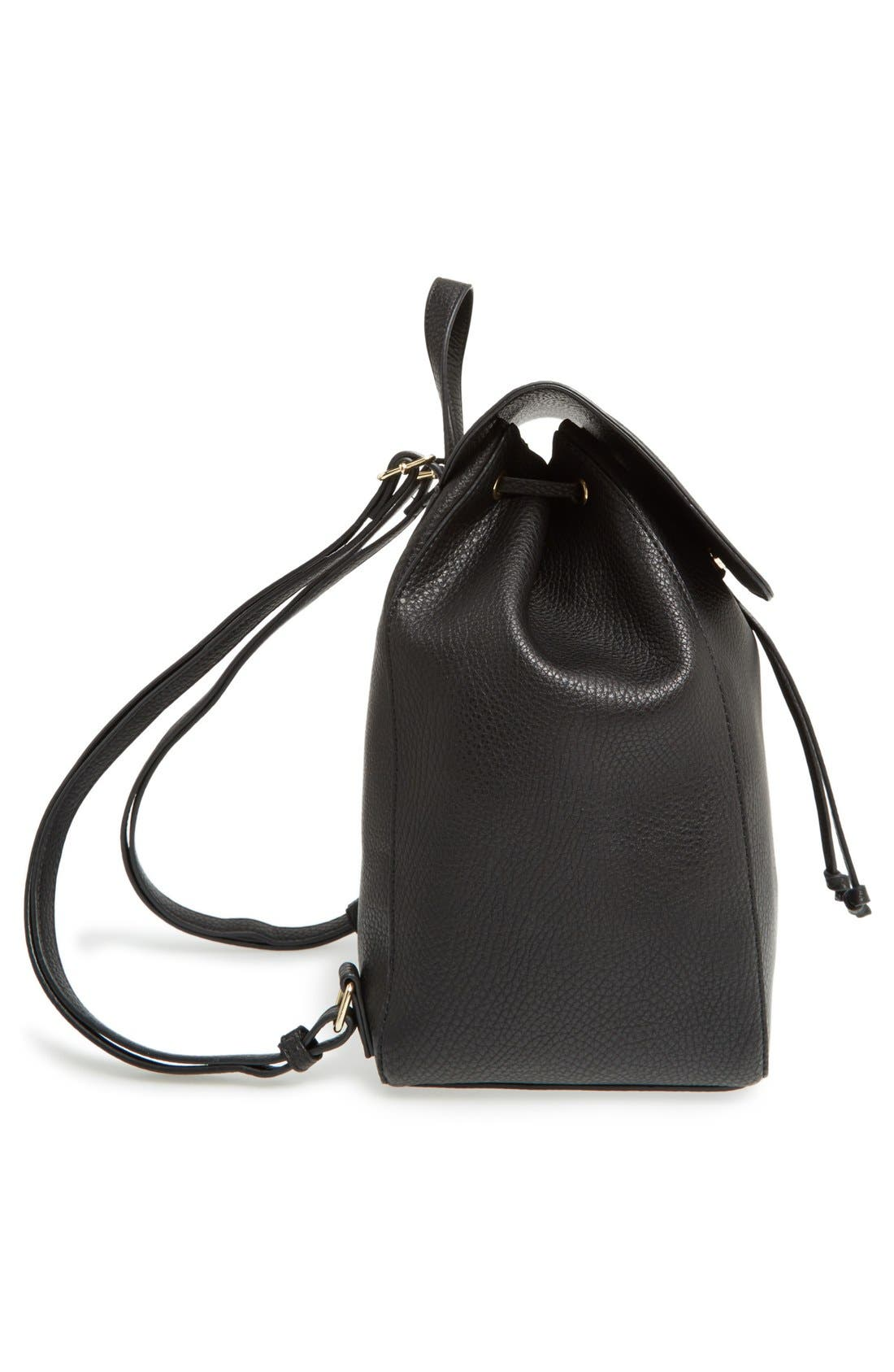 SOLE SOCIETY,                             'Iver' Faux Leather Drawstring Backpack,                             Alternate thumbnail 6, color,                             001