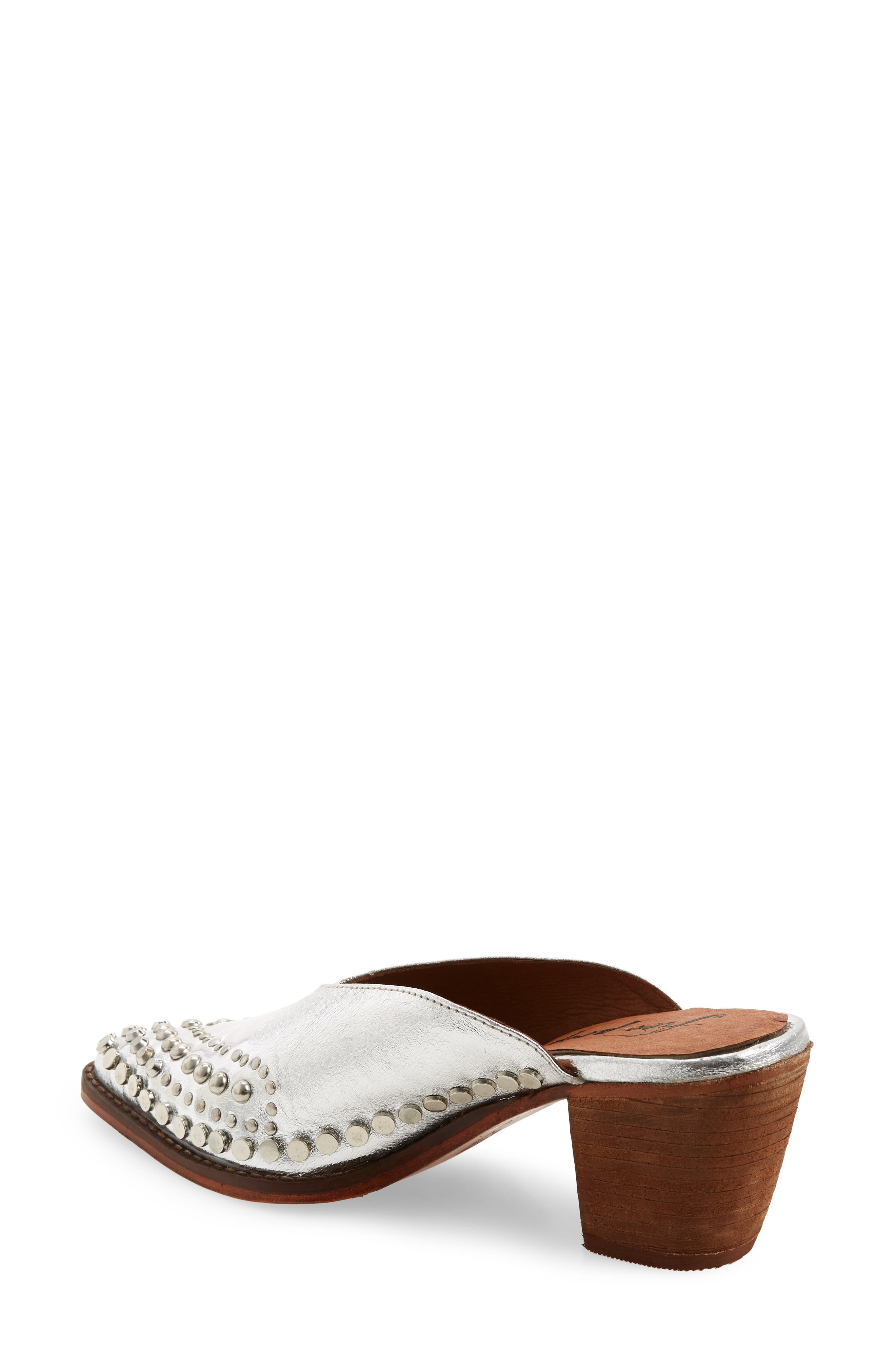 Anya Studded Mule,                             Alternate thumbnail 2, color,                             SILVER LEATHER