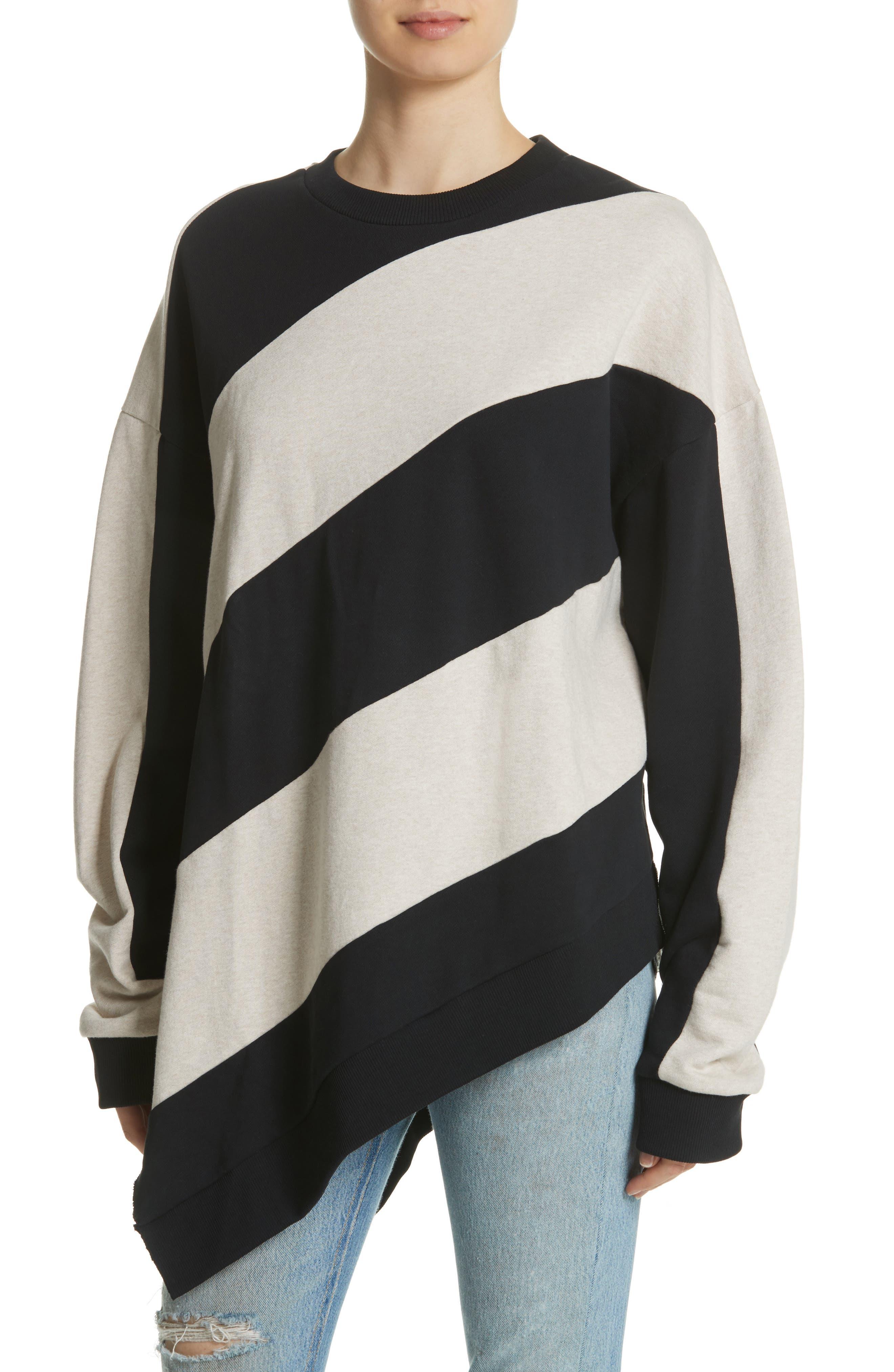 Marques'Almeida Asymmetrical Stripe Sweatshirt,                             Alternate thumbnail 4, color,                             250
