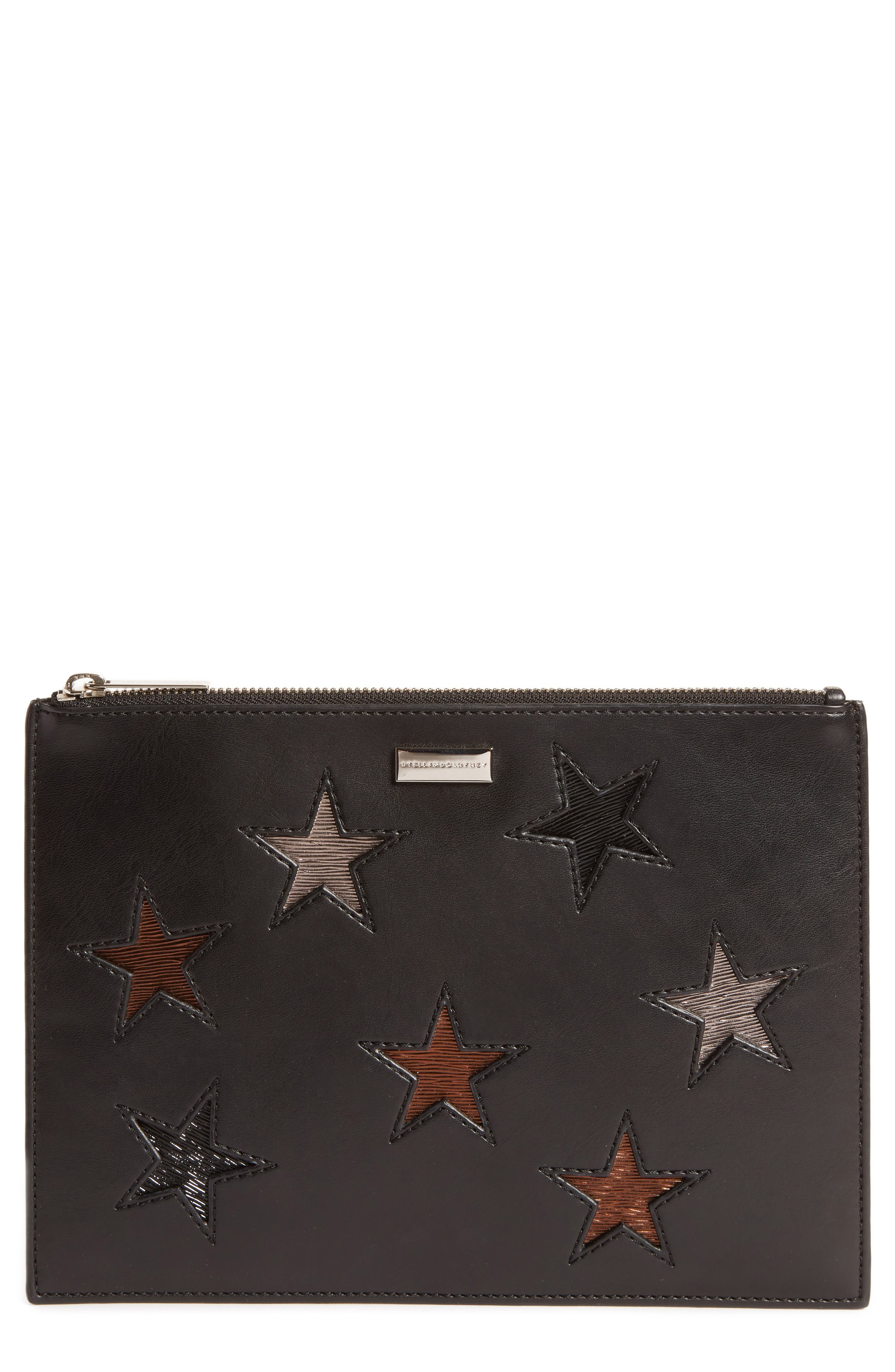 Falabella Star Inset Faux Leather Zip Pouch,                             Main thumbnail 1, color,                             001
