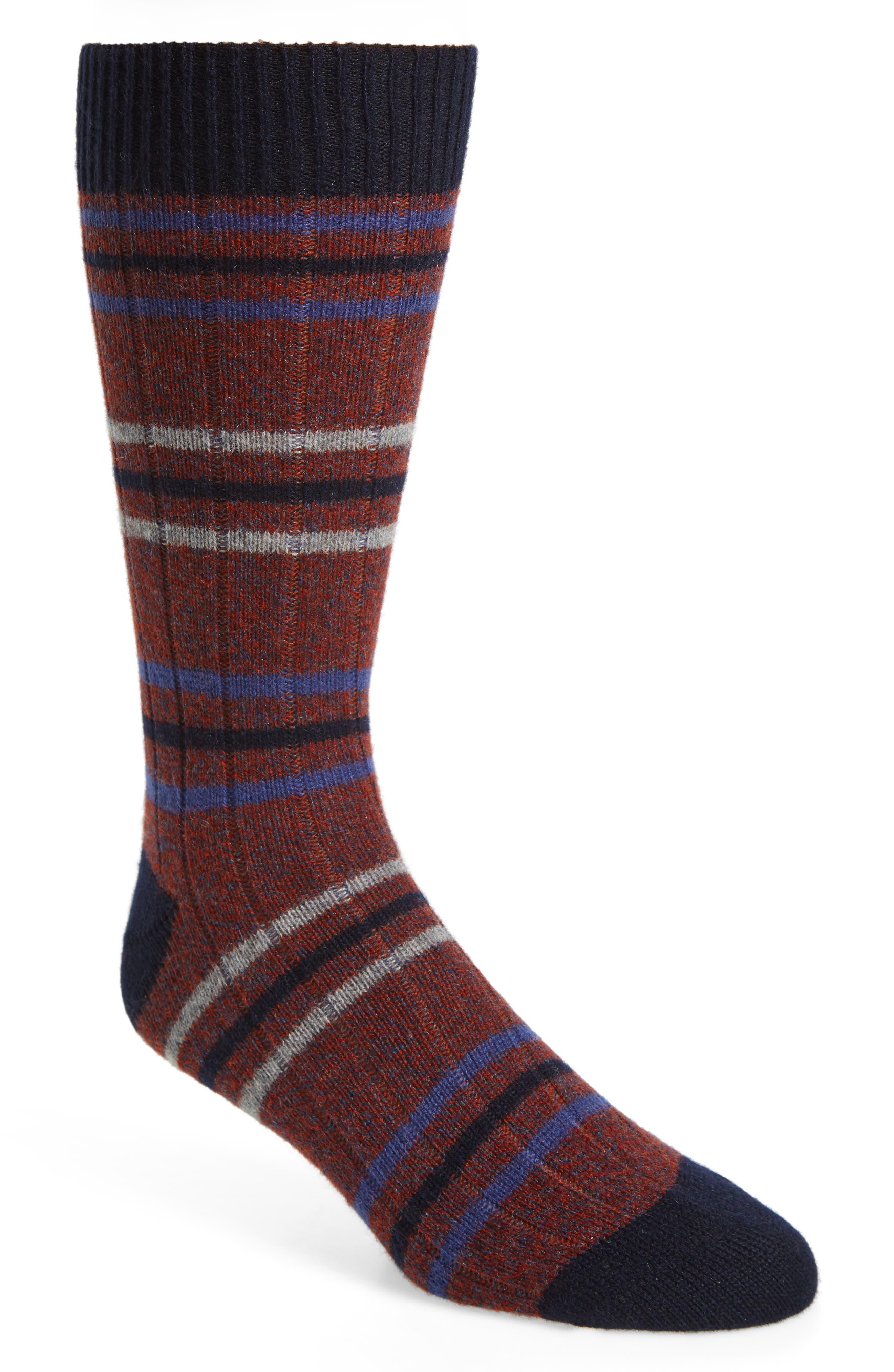 PANTHERELLA Stripe Cashmere Blend Socks in Rust Denim