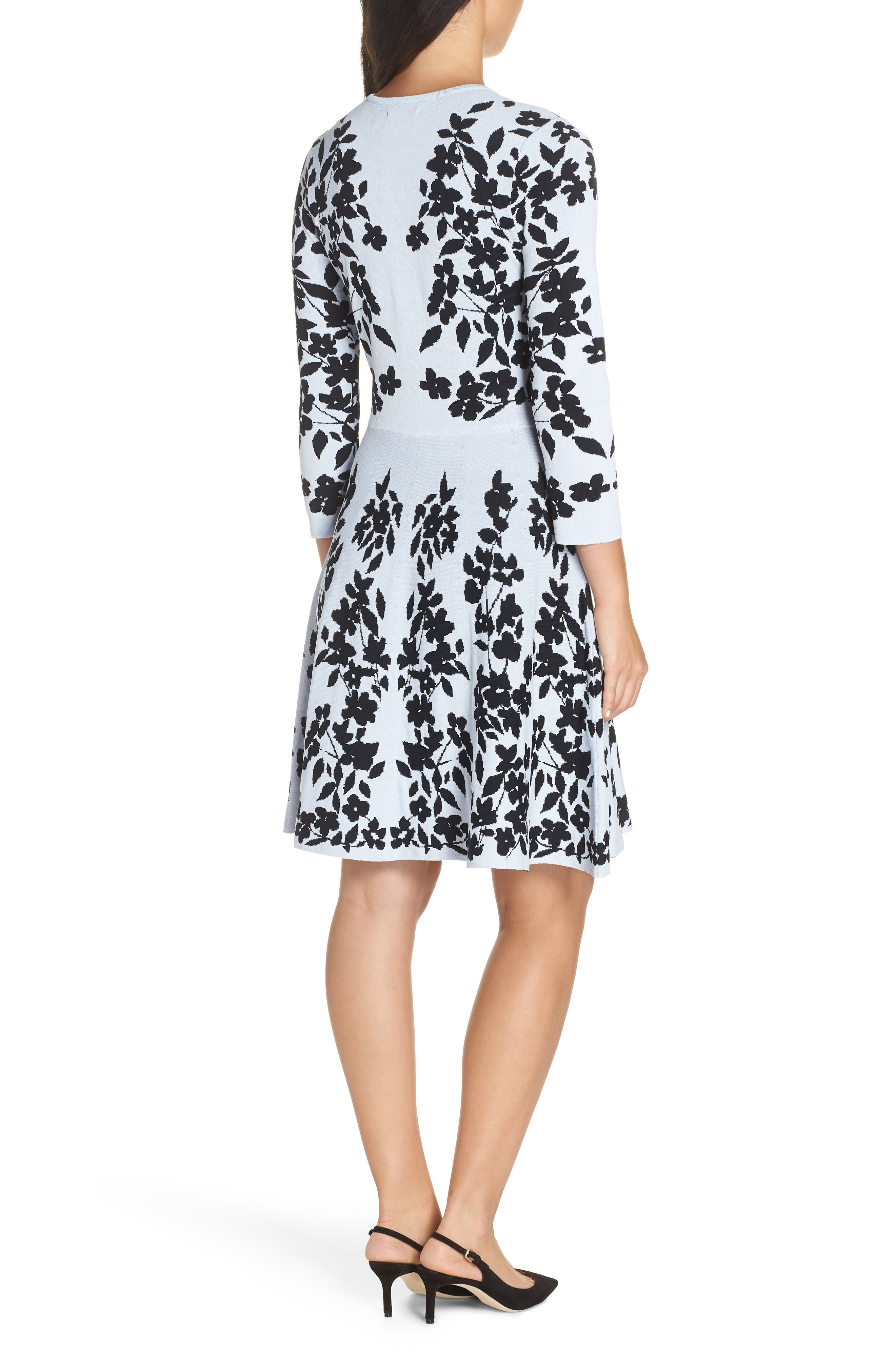Floral Fit & Flare Sweater Dress,                             Alternate thumbnail 2, color,                             BLUE