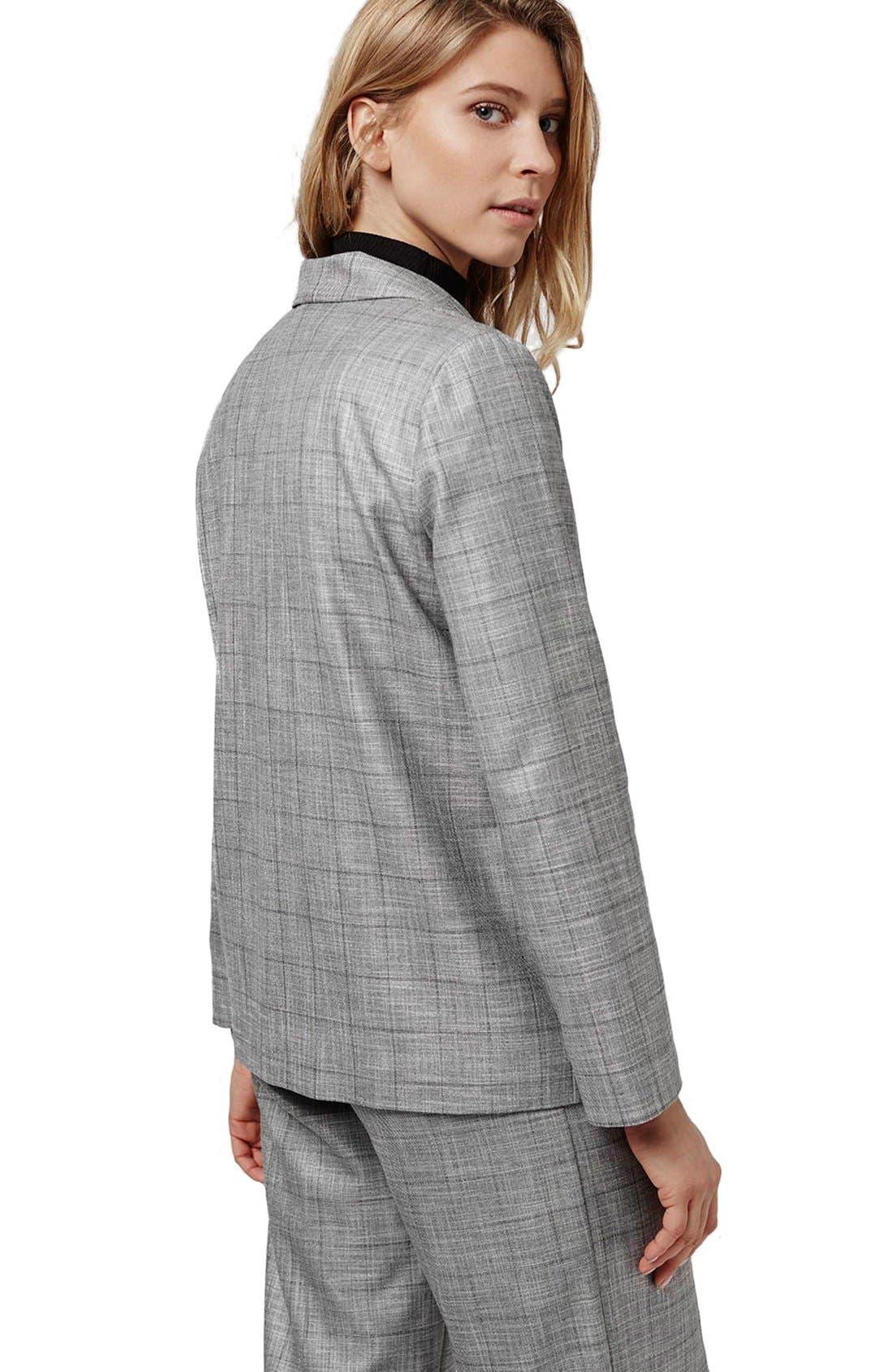 TOPSHOP,                             'Check Tonic' One-Button Suit Blazer,                             Alternate thumbnail 5, color,                             020
