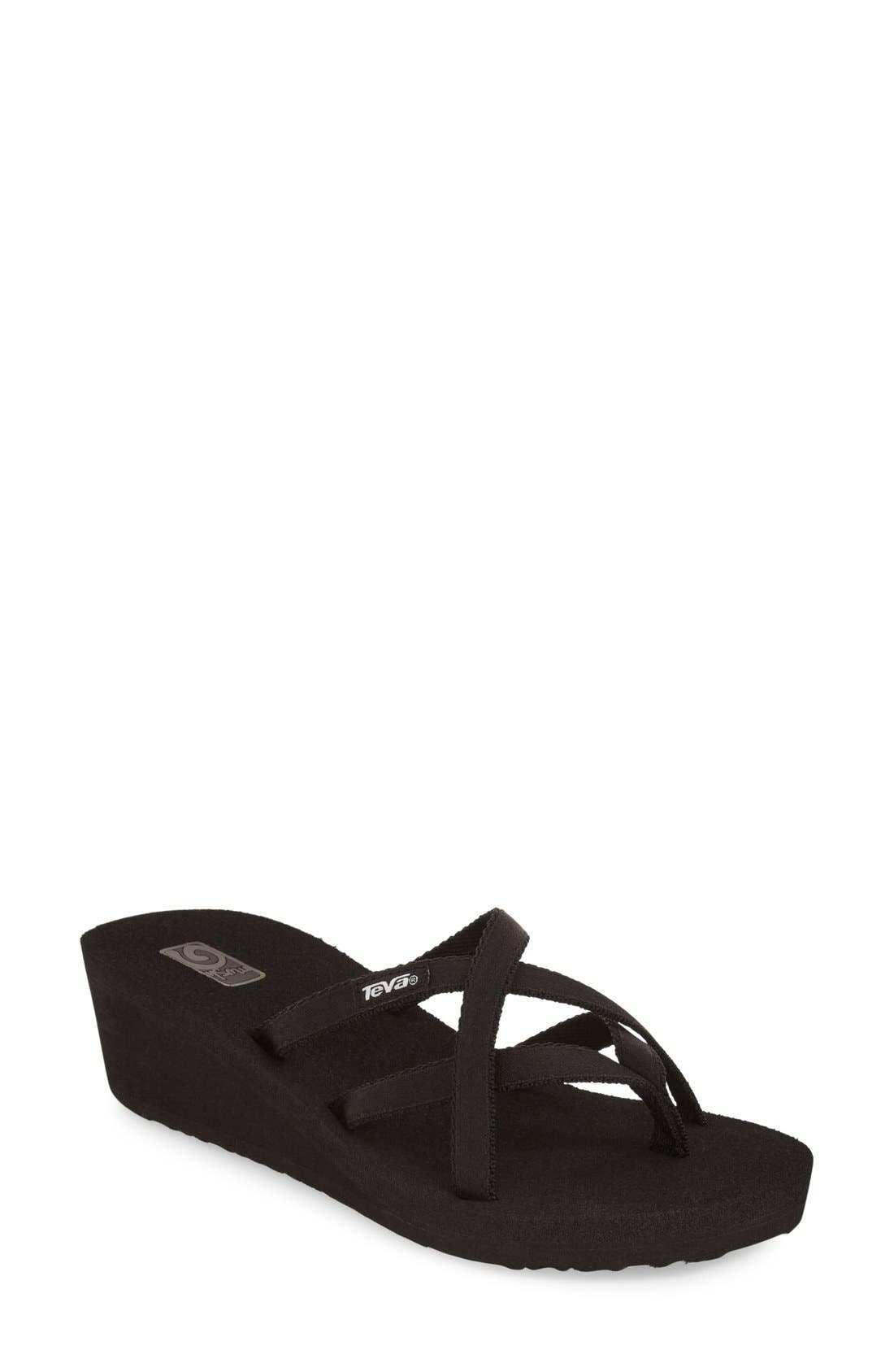 'Mandalyn' Wedge Sandal,                             Main thumbnail 1, color,                             BLACK