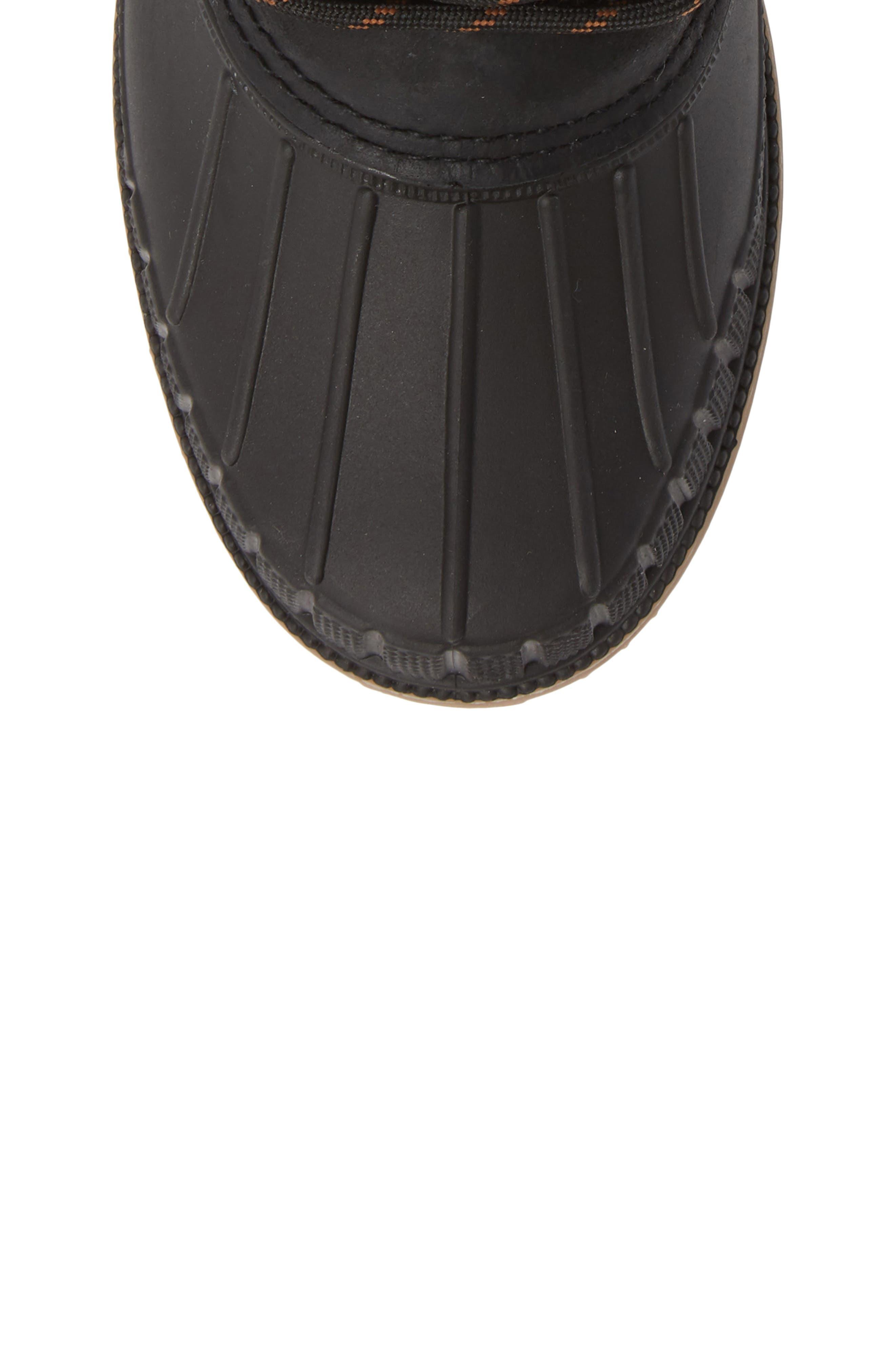 Sienna Waterproof Duck Boot,                             Alternate thumbnail 5, color,                             BLACK LEATHER