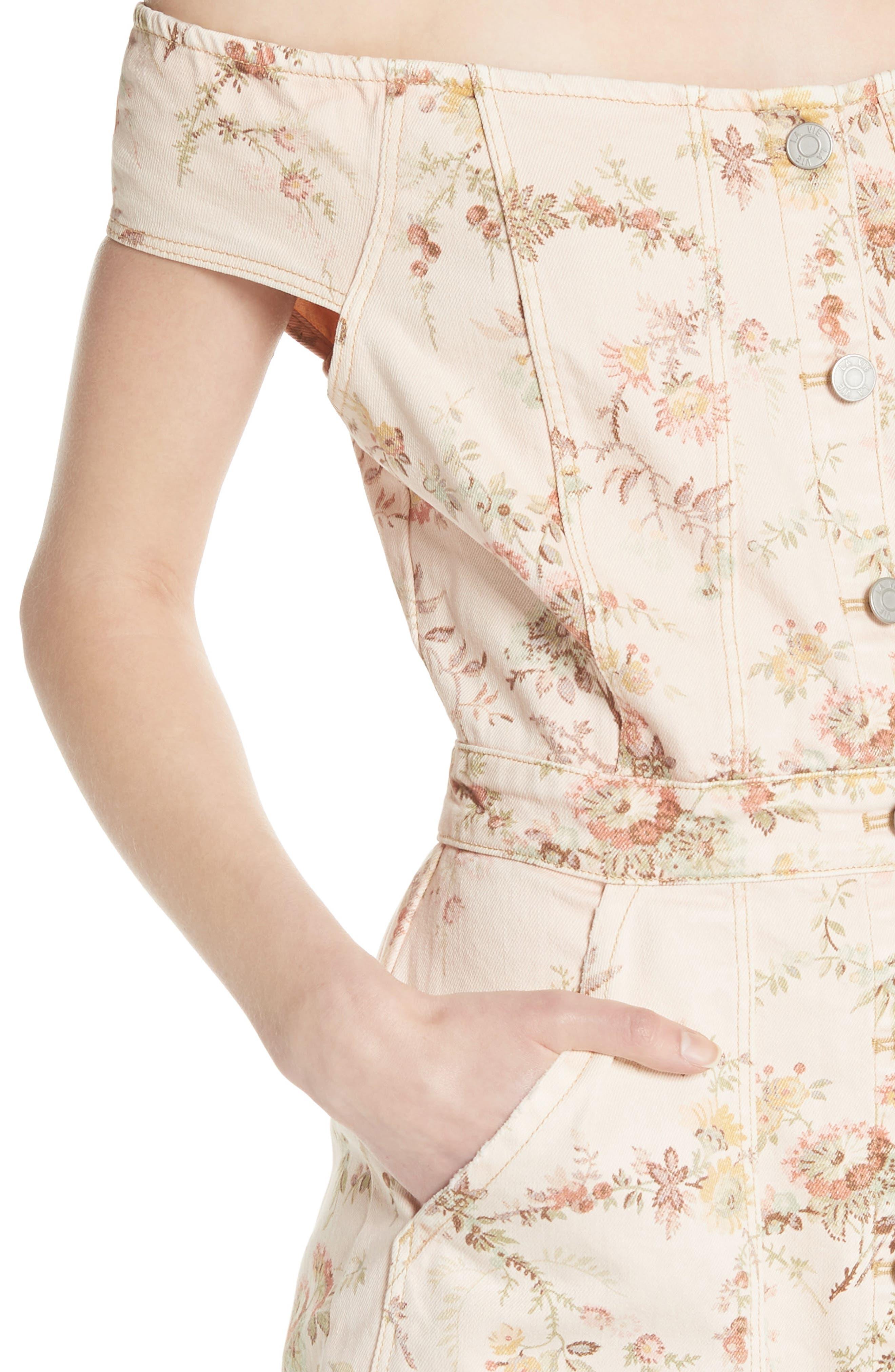 Floral Off the Shoulder Denim Dress,                             Alternate thumbnail 4, color,                             903